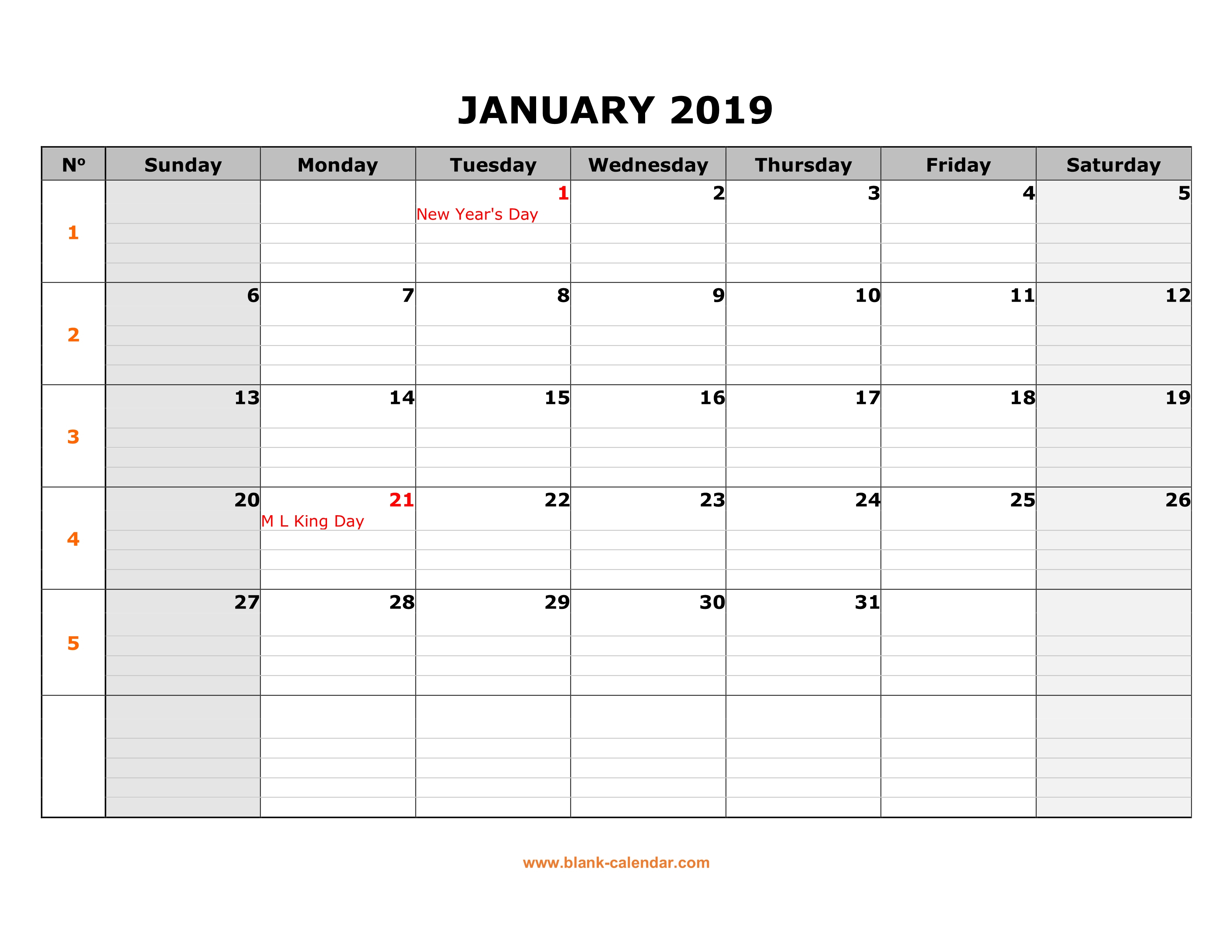 Free Download Printable Calendar 2019, Large Box Grid, Space For Notes