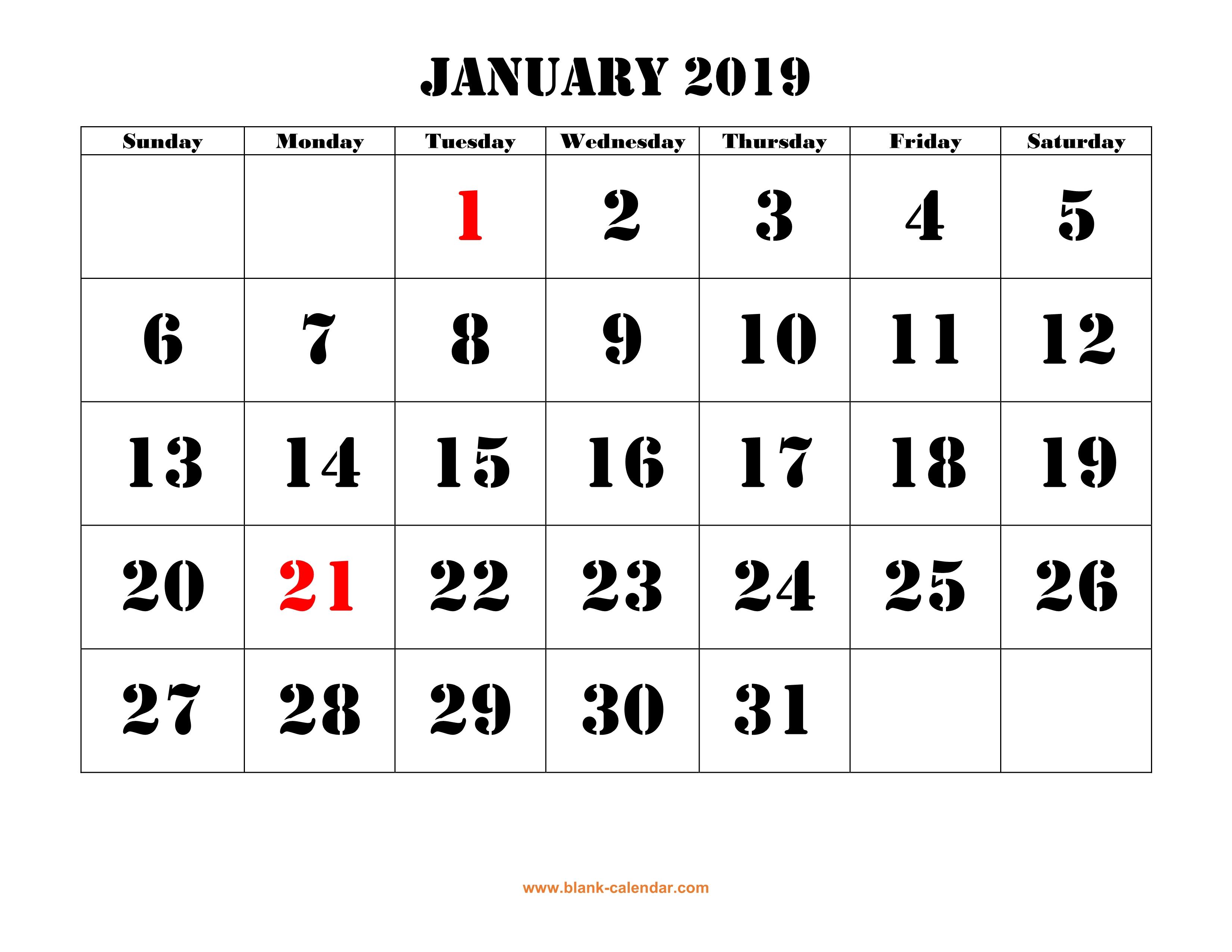 Free Download Printable Calendar 2019, Large Font Design , Holidays