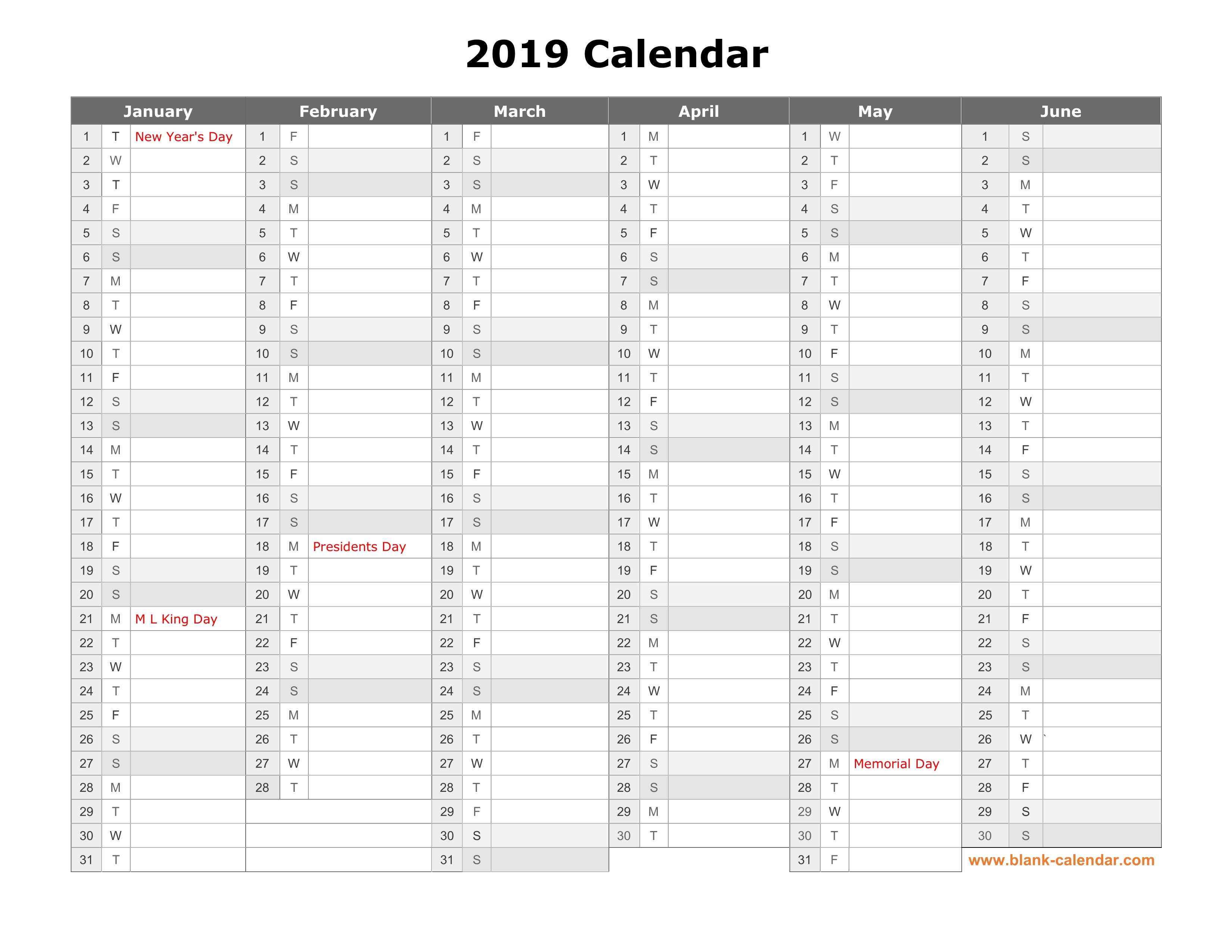 Free Download Printable Calendar 2019, Month In A Column, Half A