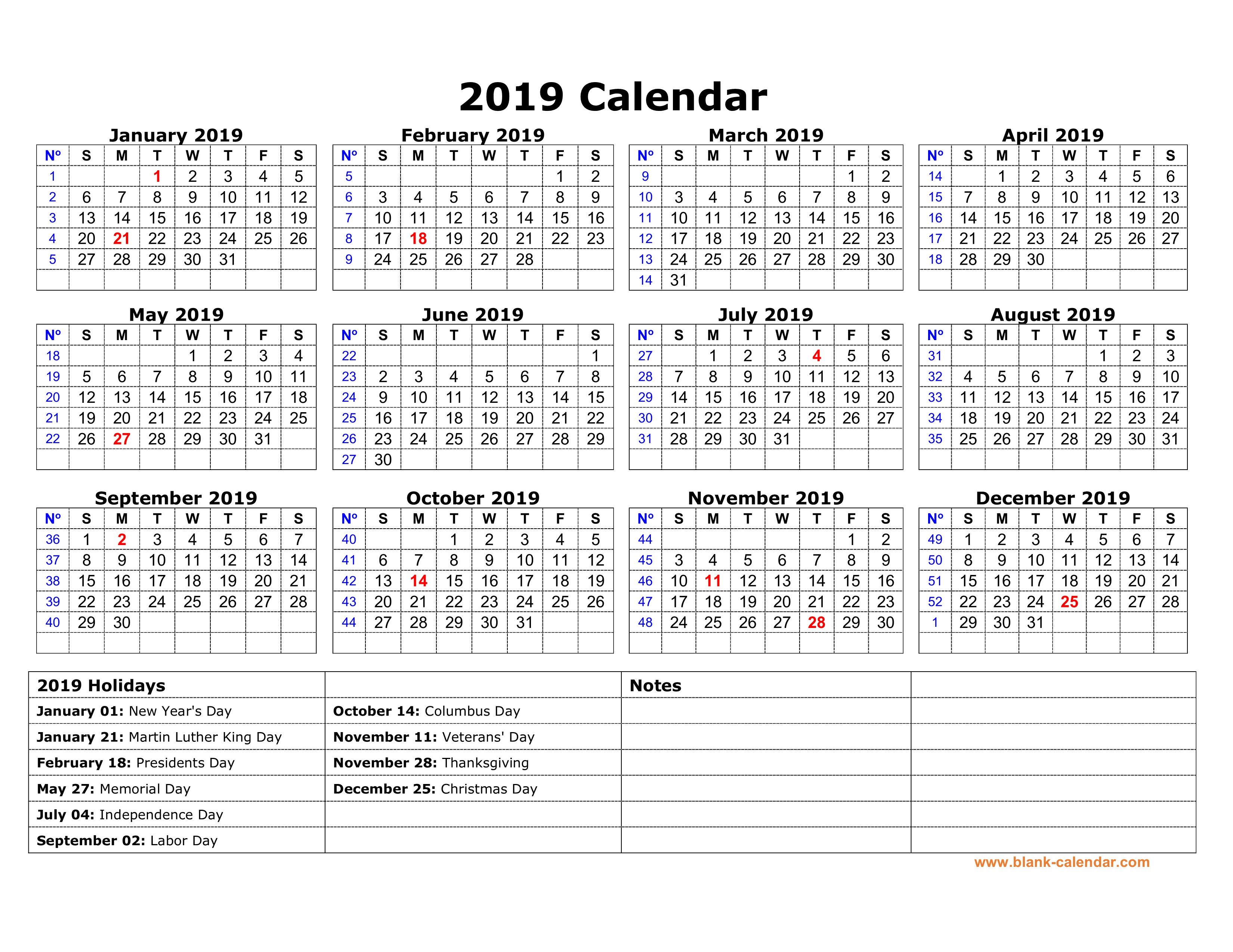 Free Download Printable Calendar 2019 With Us Federal Holidays, One
