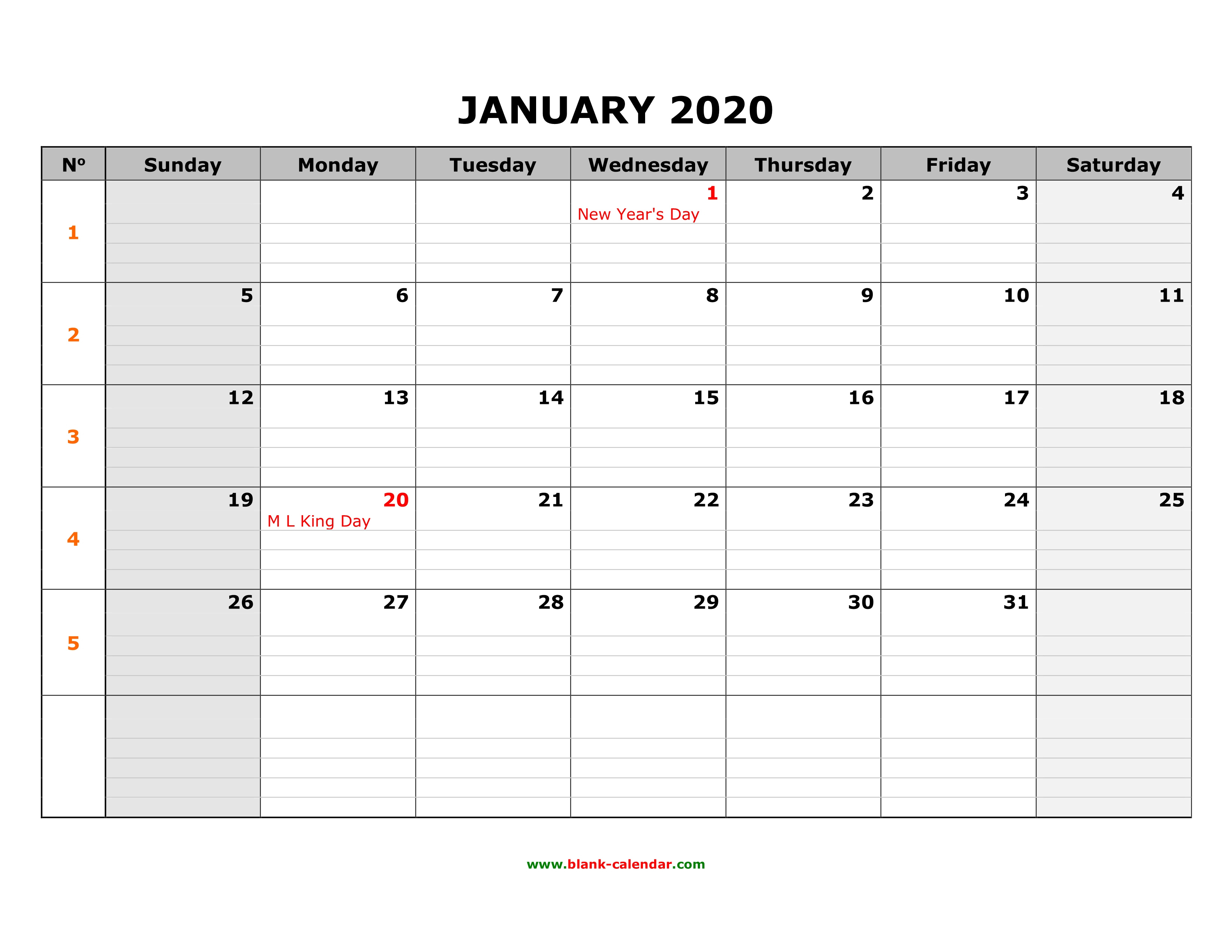 Free Download Printable Calendar 2020, Large Box Grid, Space For Notes