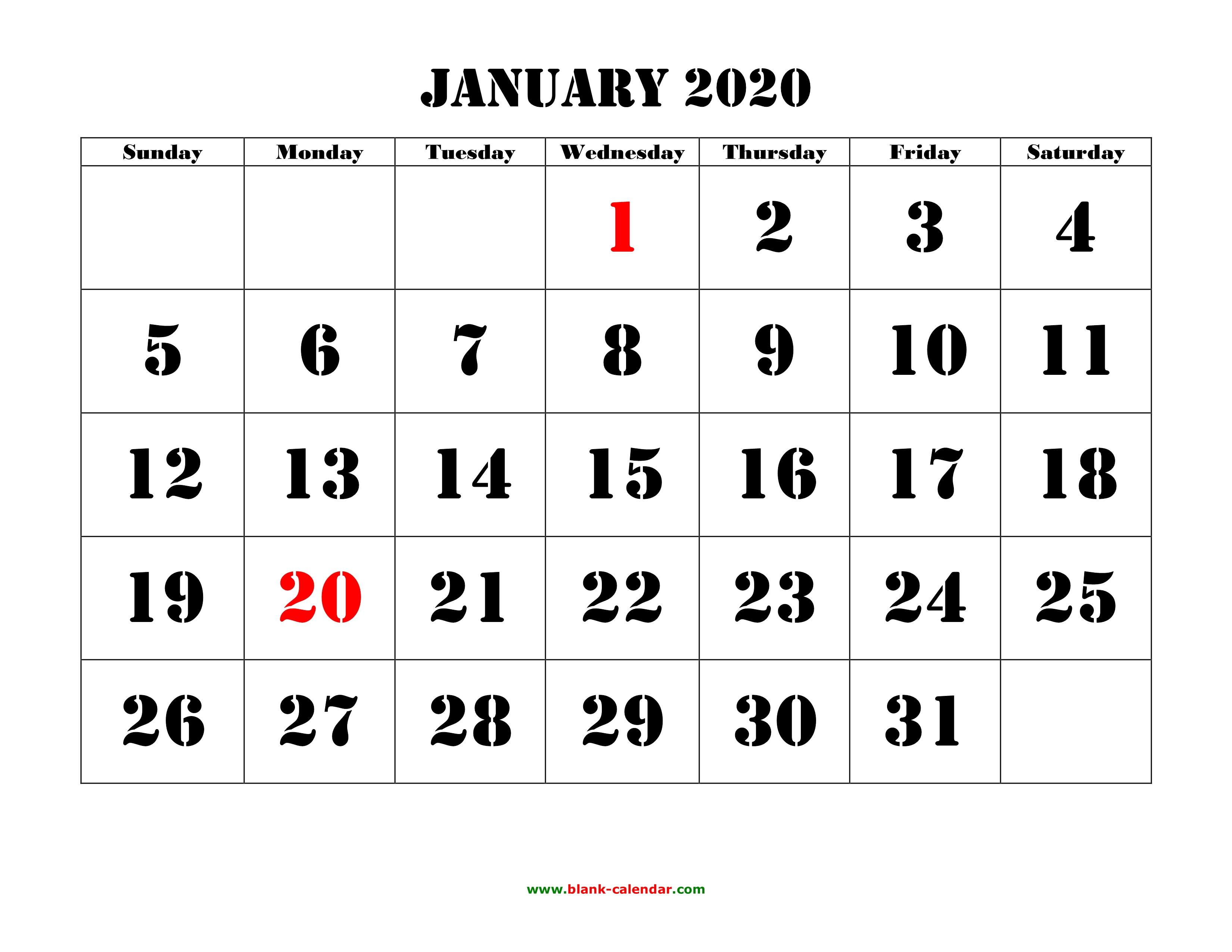 Free Download Printable Calendar 2020, Large Font Design , Holidays