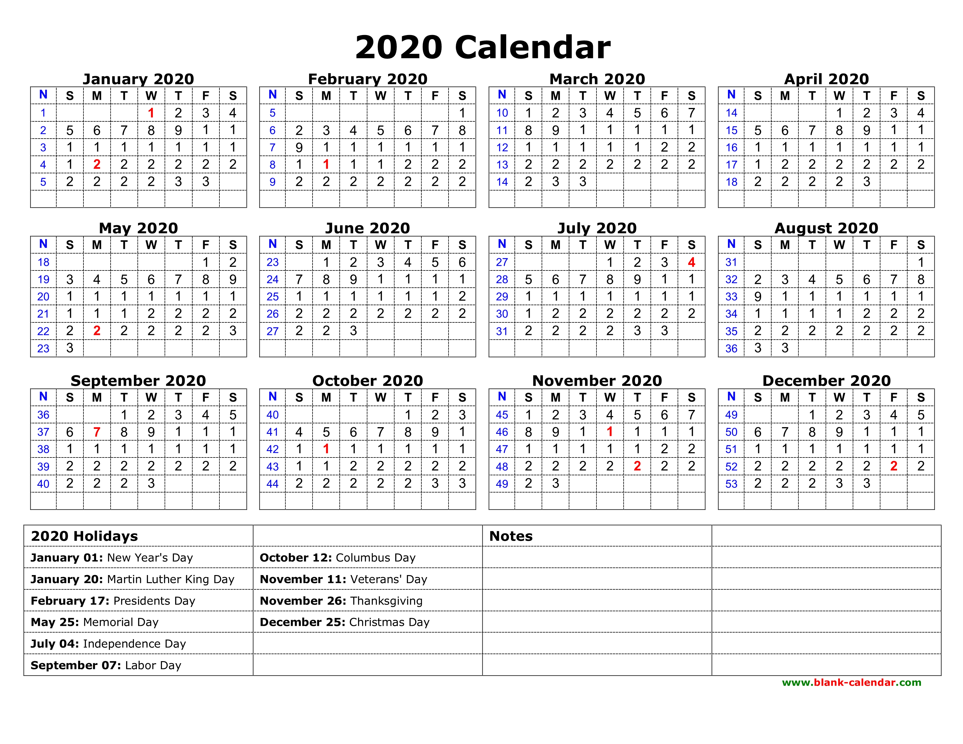 Free Download Printable Calendar 2020 With Us Federal Holidays, One