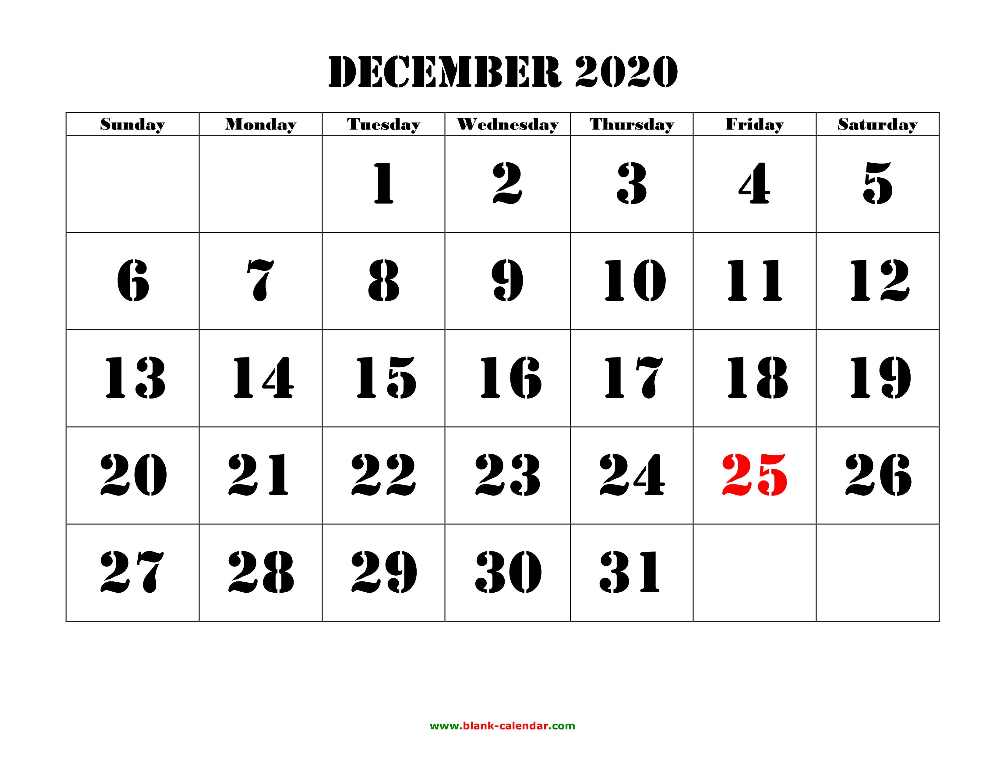Free Download Printable December 2020 Calendar, Large Font Design