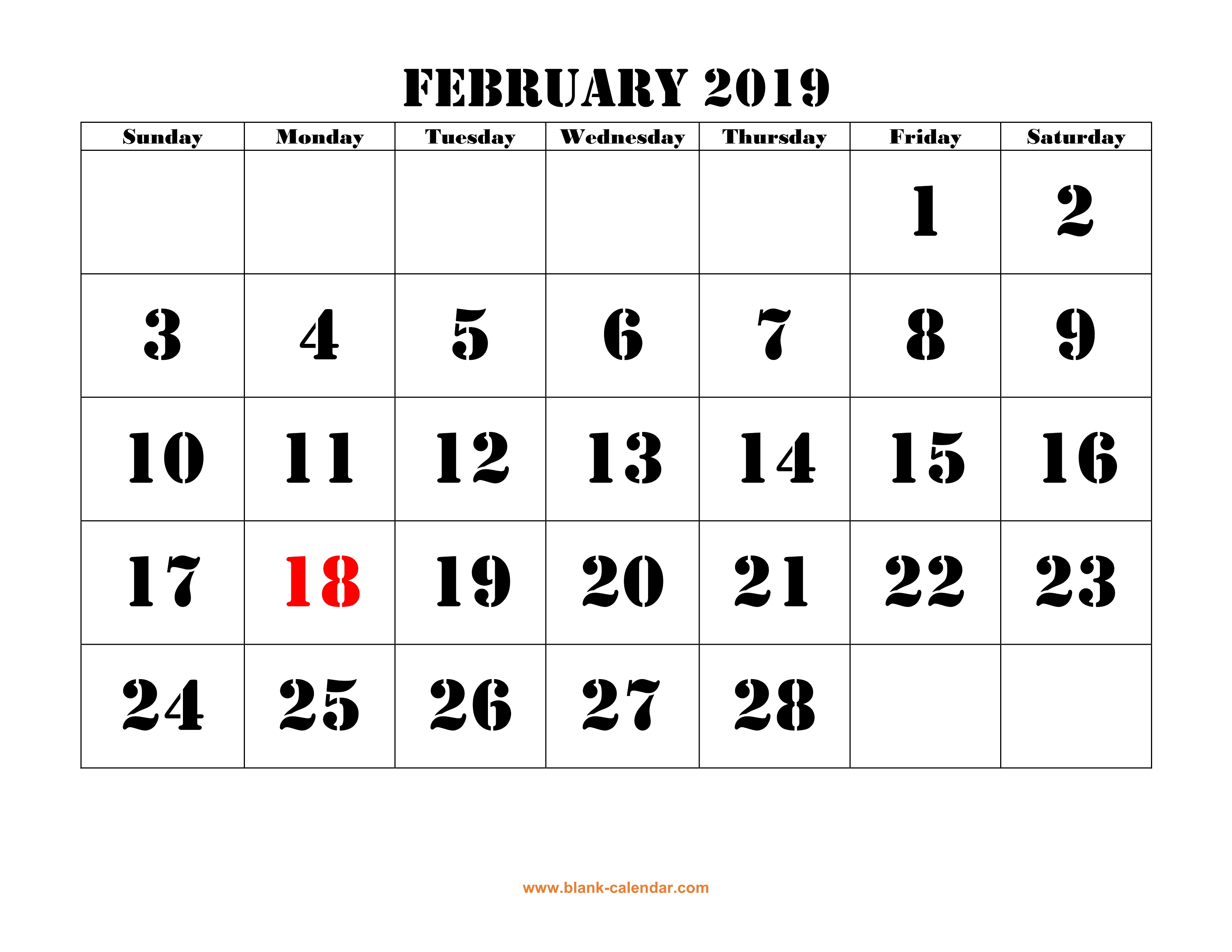 Free Download Printable February 2019 Calendar, Large Font Design