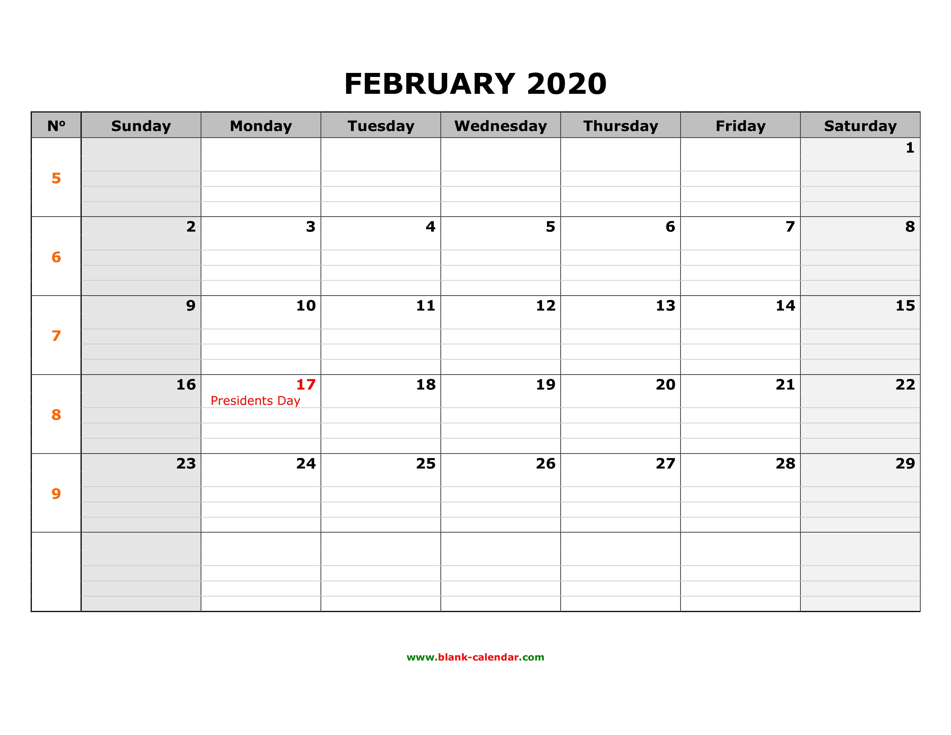 Free Download Printable February 2020 Calendar, Large Box Grid