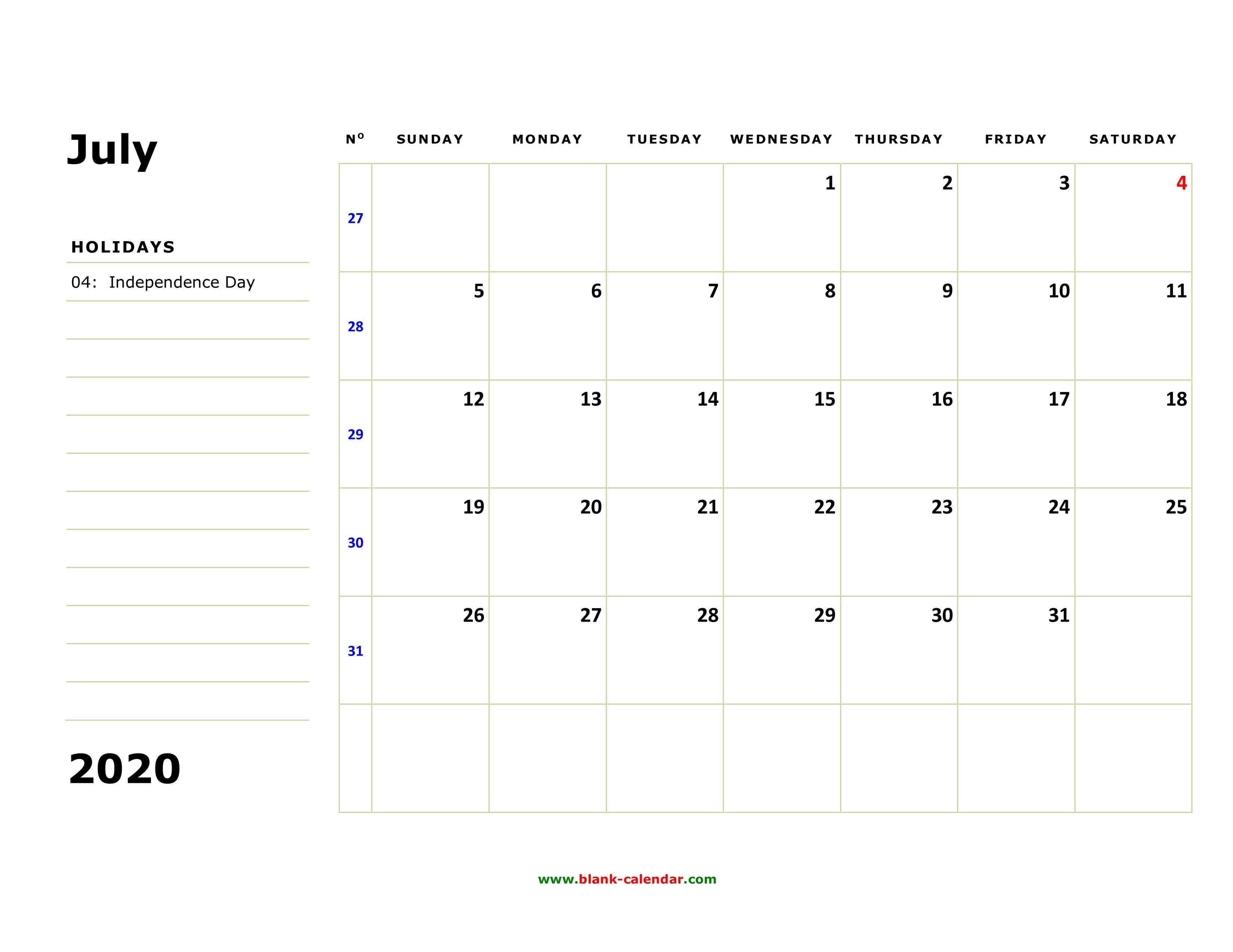 Free Download Printable July 2020 Calendar, Large Box, Holidays