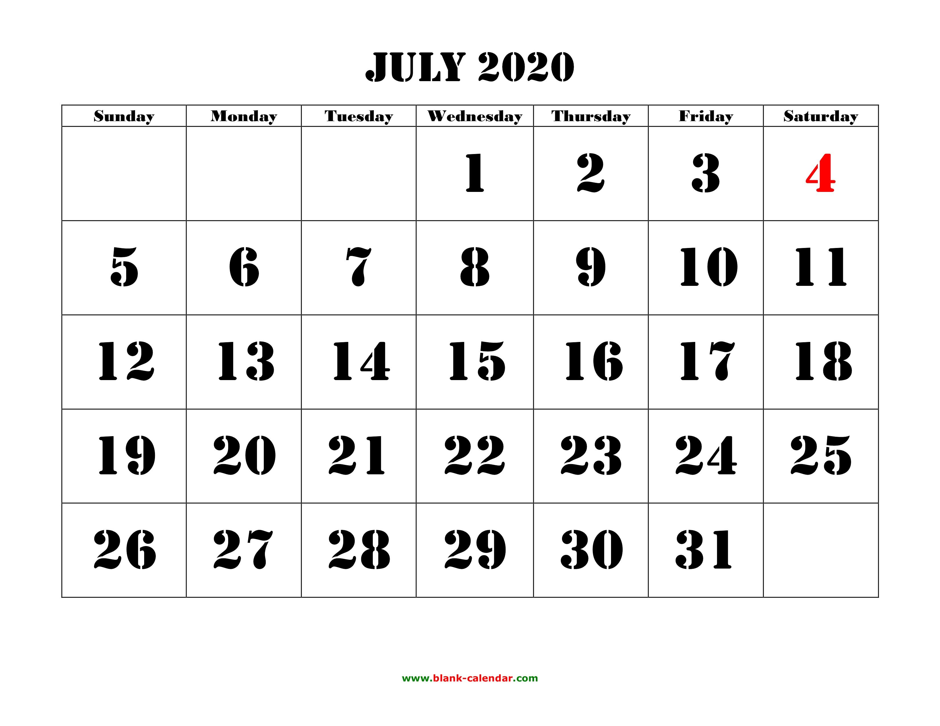 Free Download Printable July 2020 Calendar, Large Font Design