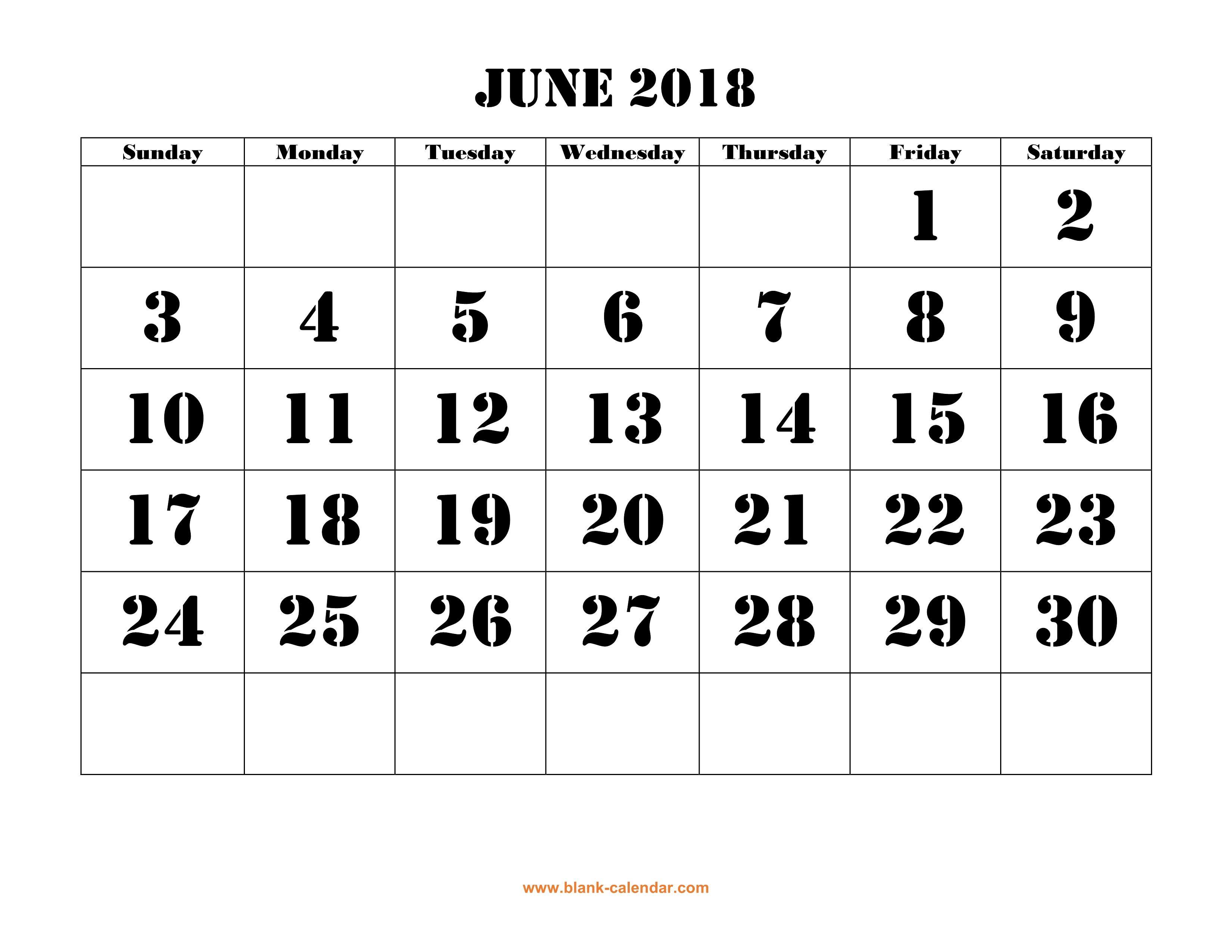 Free Download Printable June 2018 Calendar, Large Font Design