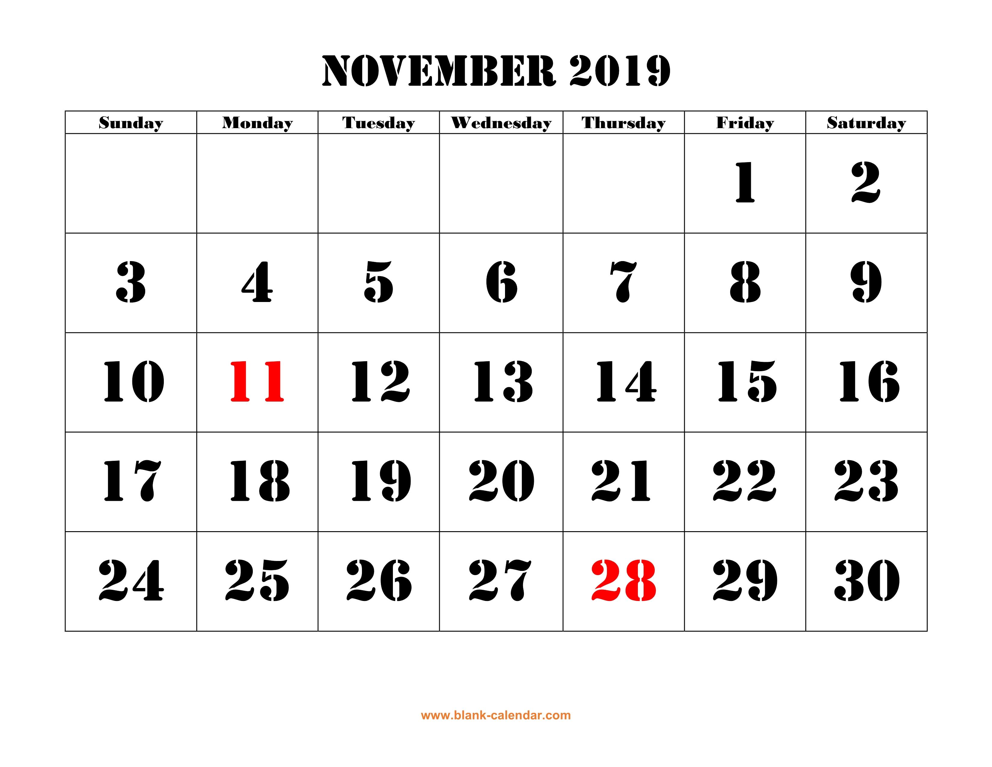 Free Download Printable November 2019 Calendar, Large Font Design