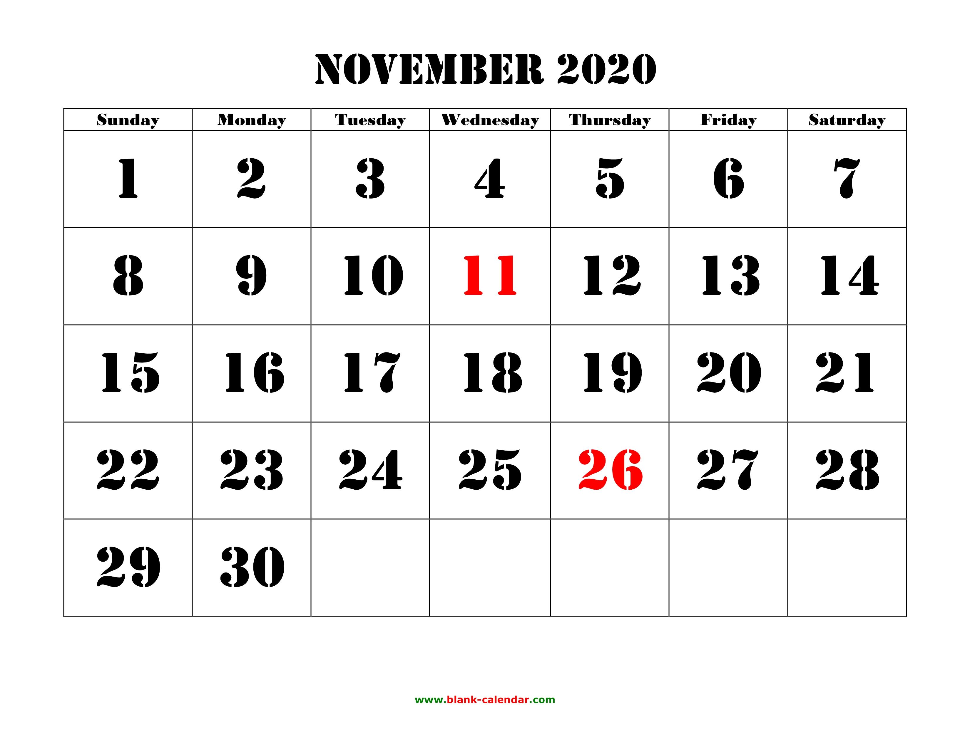 Free Download Printable November 2020 Calendar, Large Font Design