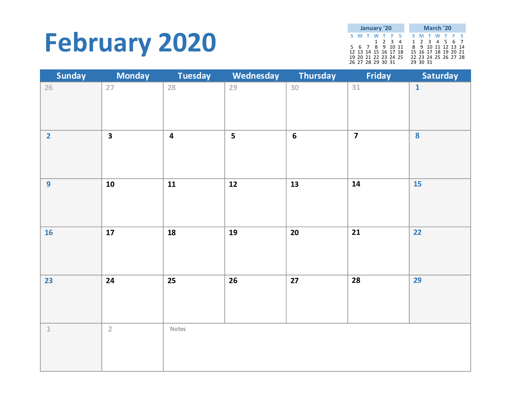 Free February & March 2020 Printable Calendar Templates Download