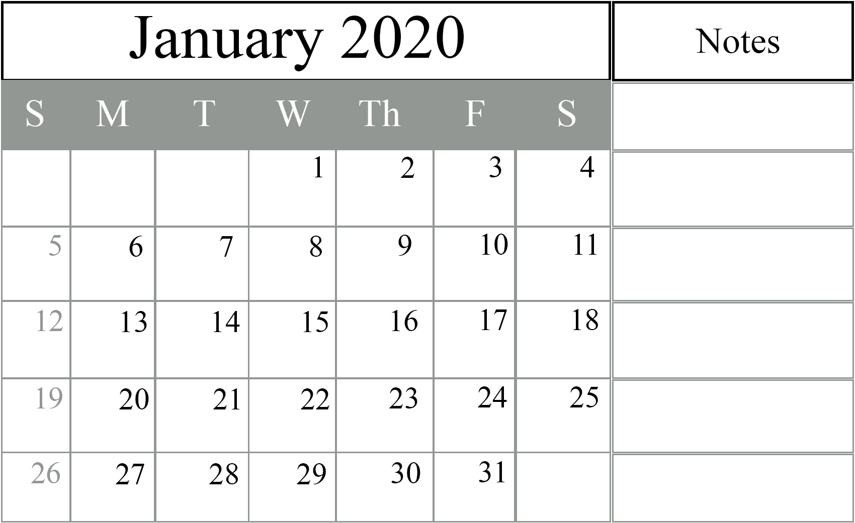 Free January 2020 Calendar Templates {Pdf, Excel, Word}