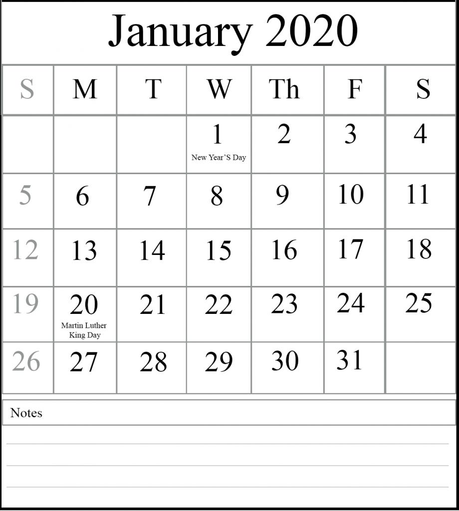 [%Free January 2020 Printable Calendar Template [Pdf, Excel, Word|2020 Calendar Printable Word|2020 Calendar Printable Word%]