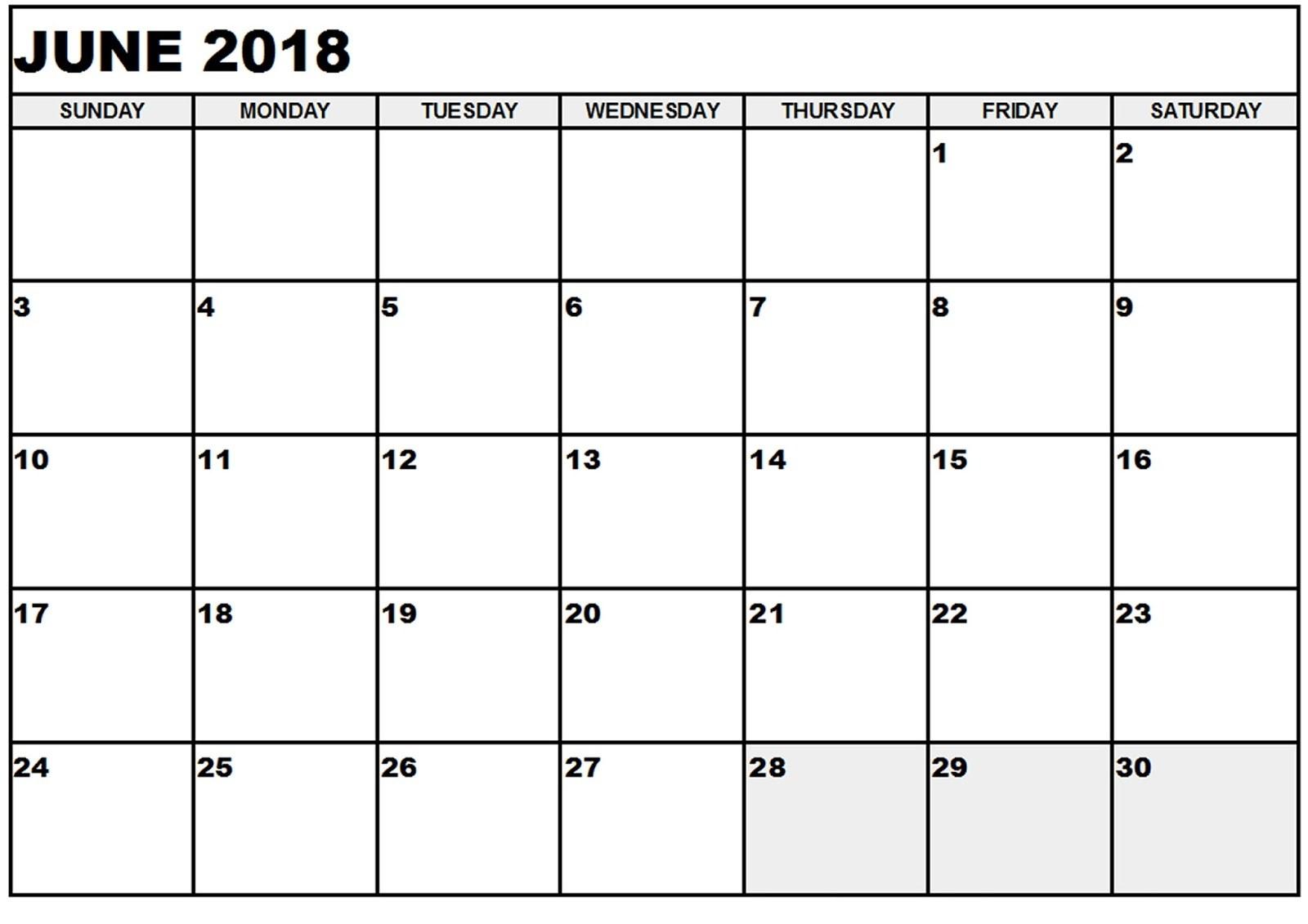 Free June 2018 Calendar In Printable Format Templates - Calendar
