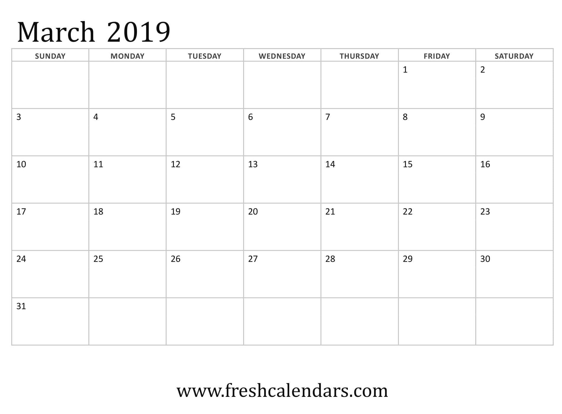 Free March 2019 Calendar