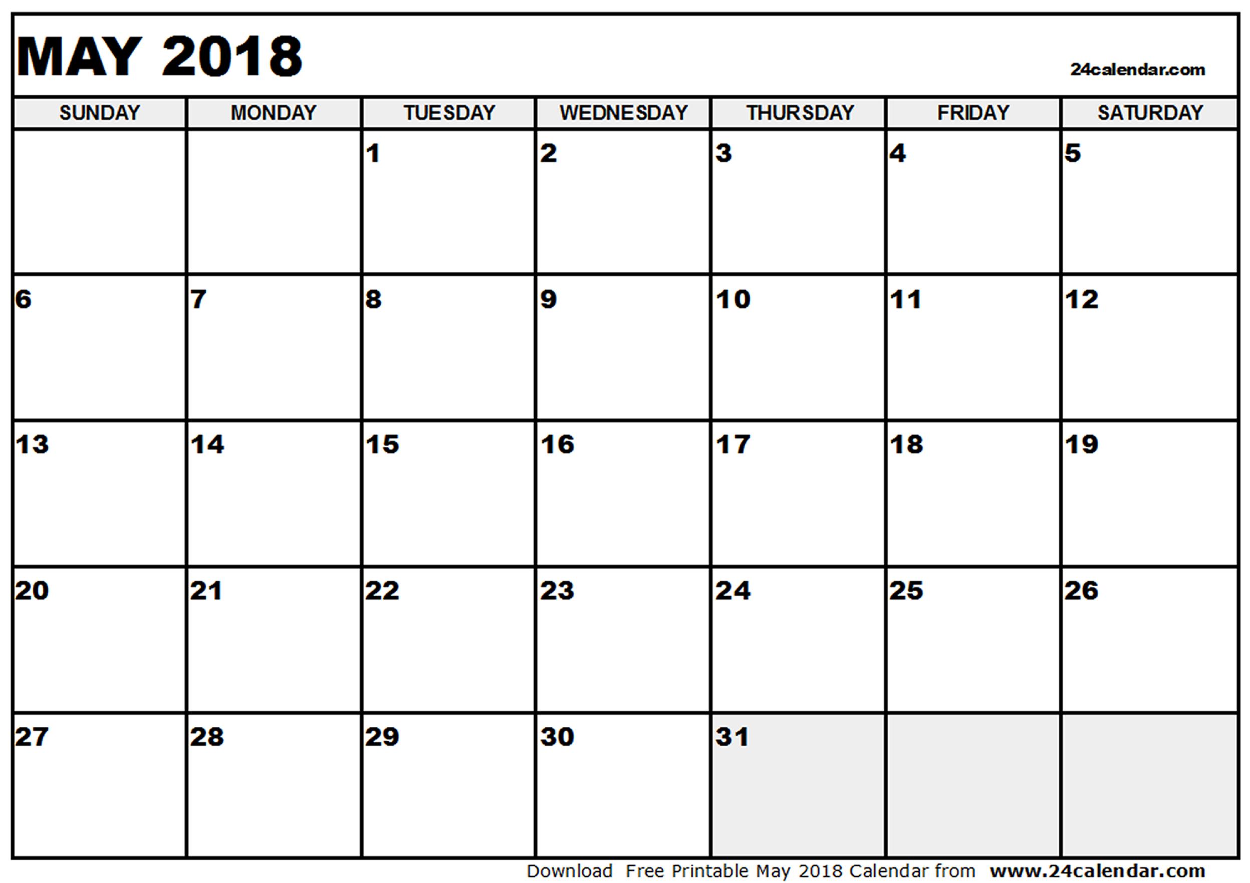 Free May 2018 Printable Calendar Blank Templates In Word