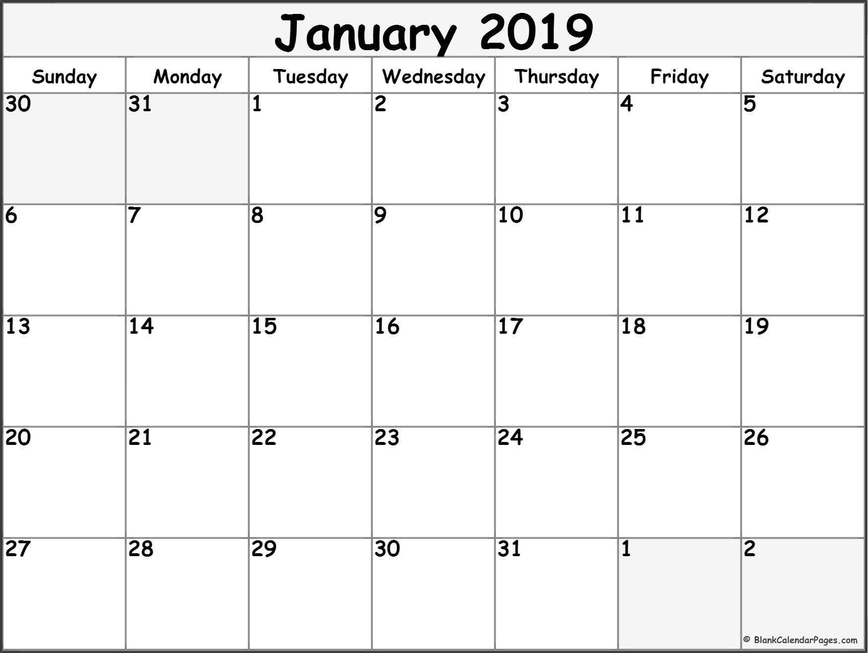 Free Monthly January 2019 Calendar Word Excel Landscape Notes Pdf