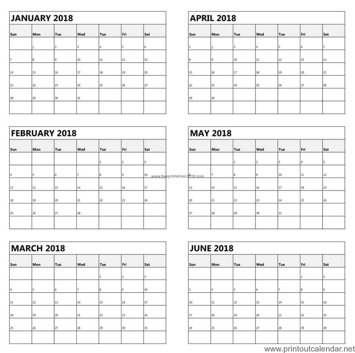 Free Printable 6 Month Calendar 2019