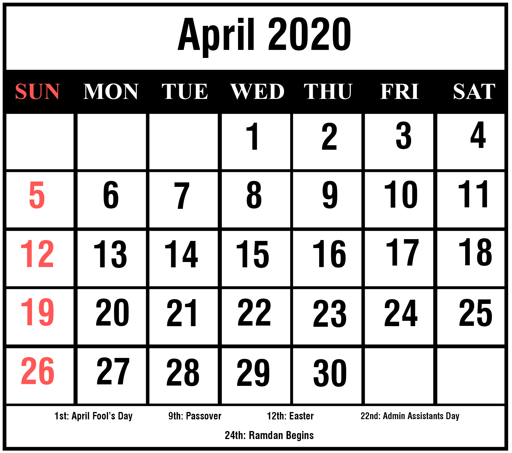 [%Free Printable April 2020 Calendar Templates [Pdf,word,excel|2020 Calendar Holidays Easter|2020 Calendar Holidays Easter%]