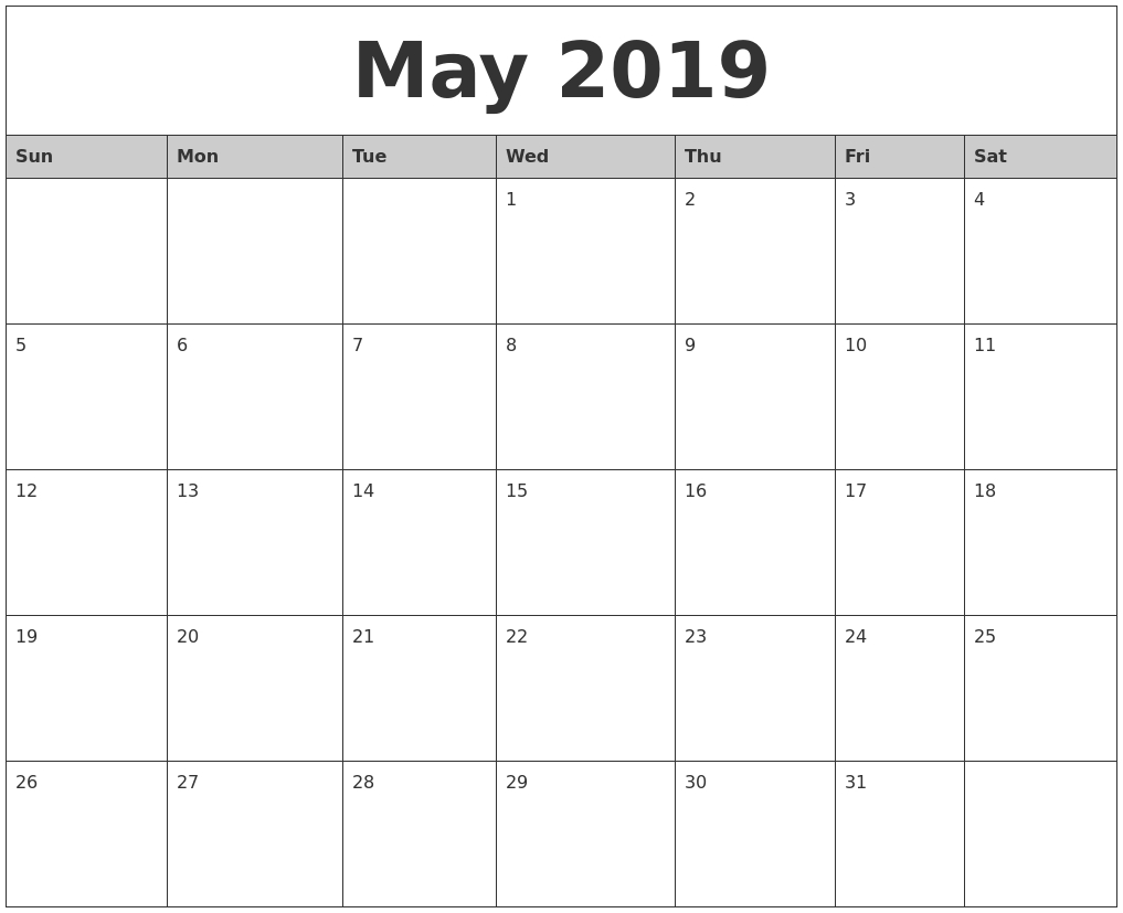 Free Printable Calendar 2018: 2019 Editable Word, Excel Calendar
