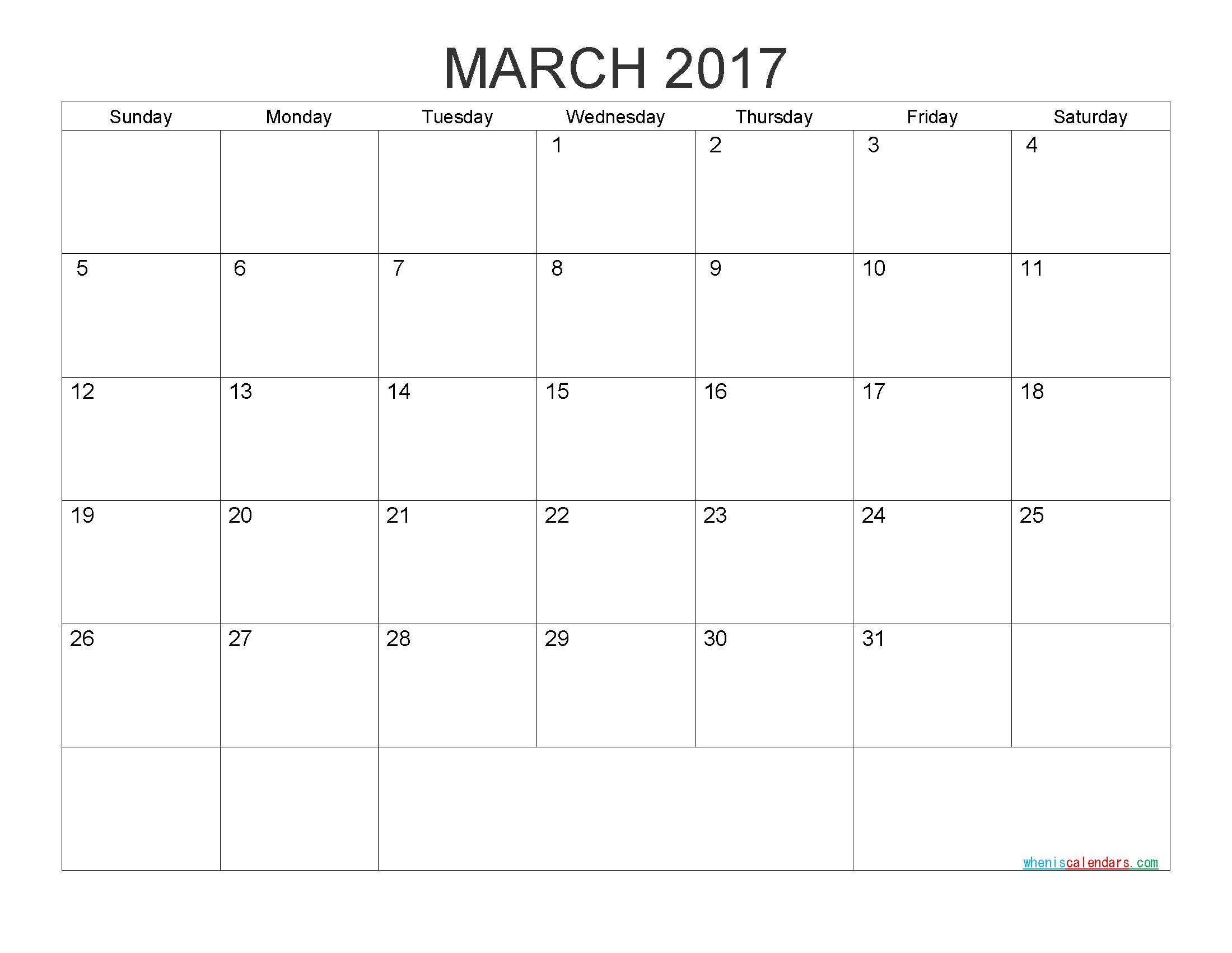 Free Printable Calendar March 2017 Monthly Calendar Templatepdf