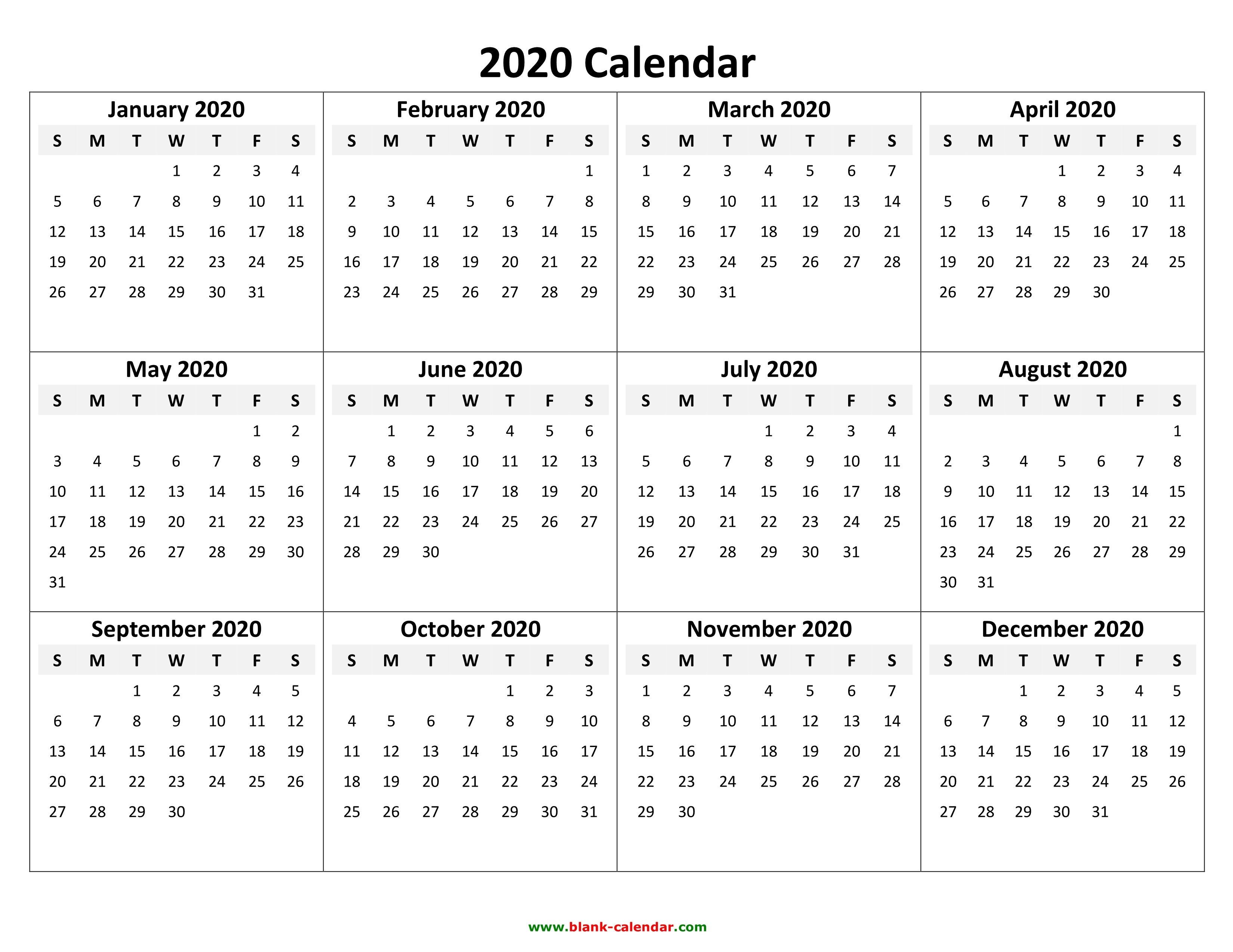 Free Printable Calendar Templates For 2020 Yearly Calendar 2020