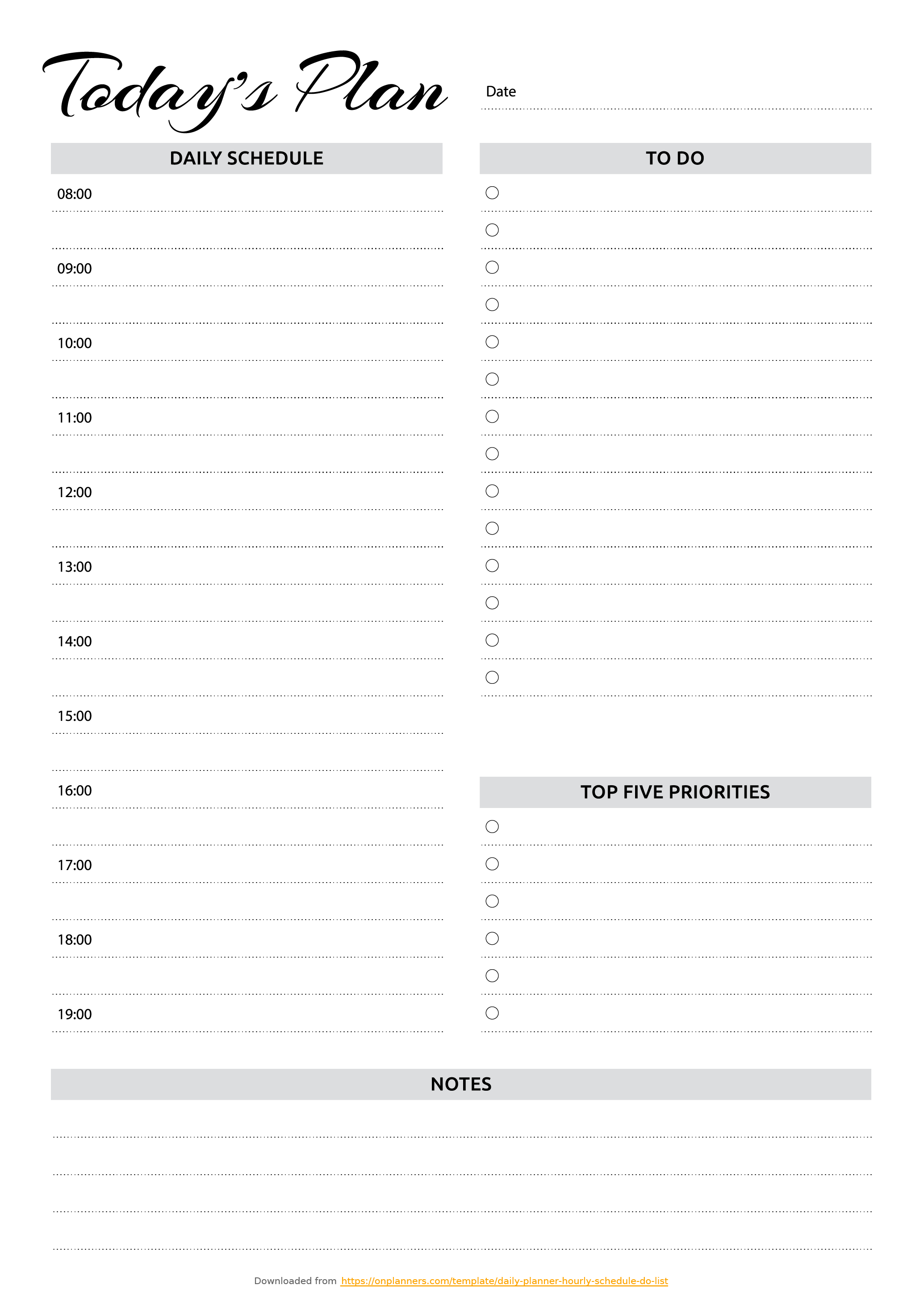 Free Printable Daily Planner With Hourly Schedule & To-Do List Pdf
