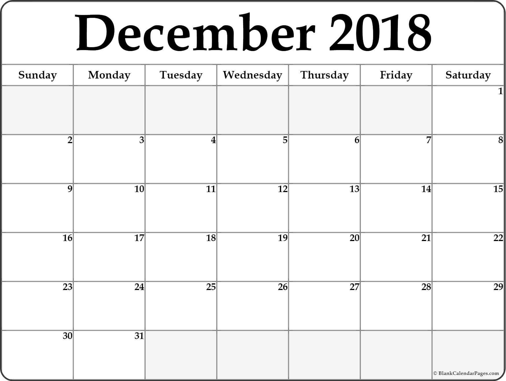 Free Printable December Calendar