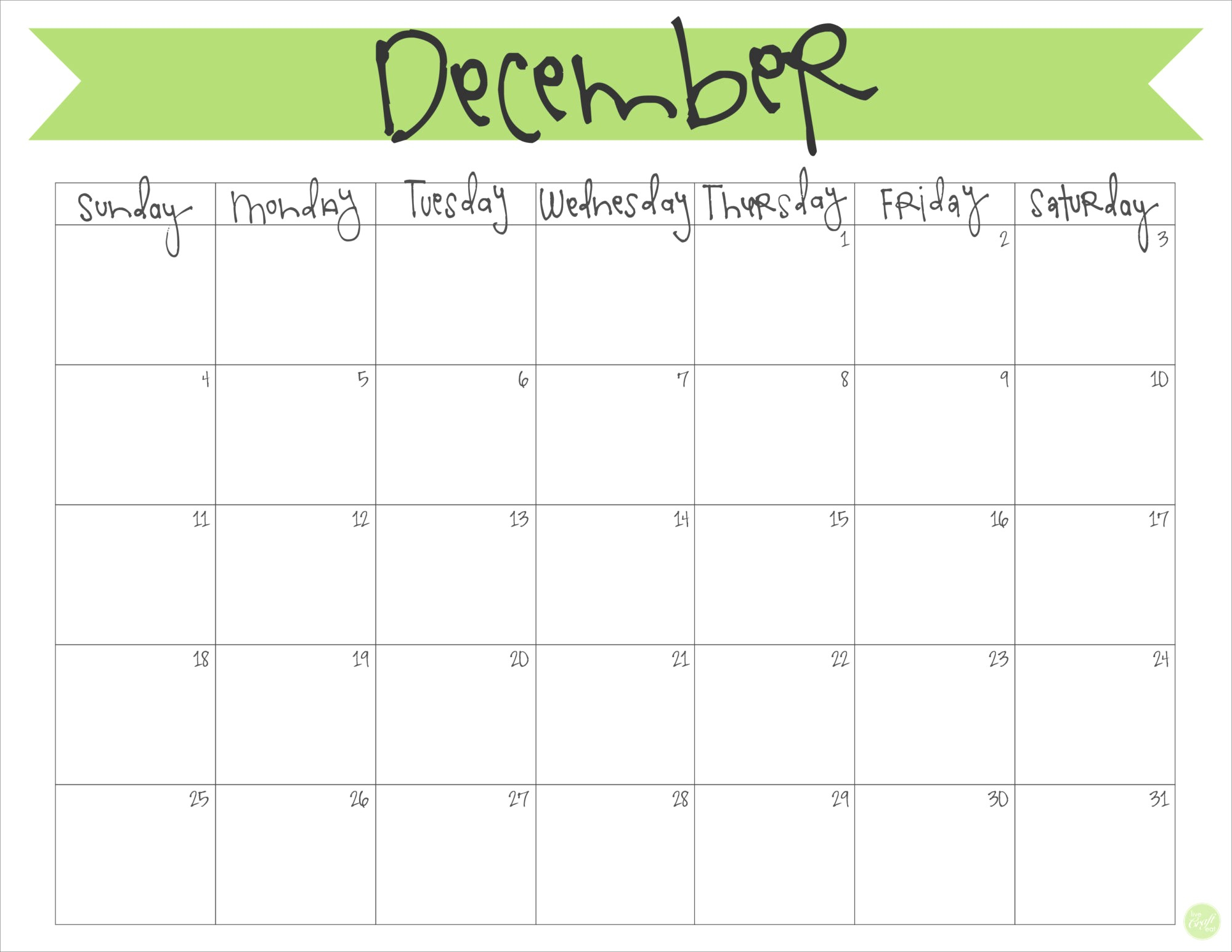 Free Printable December Calendar 2016