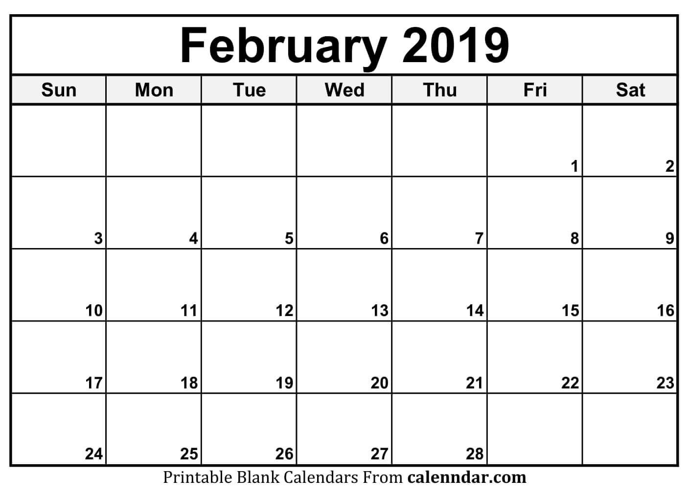 Free Printable Feb 2019 Calendar