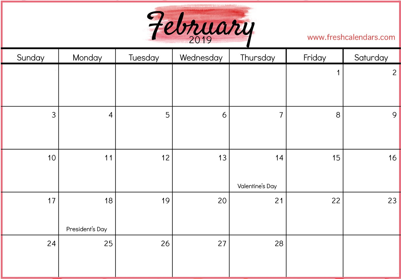 Free Printable February Calendars 2019 Blank February 2019 Calendar