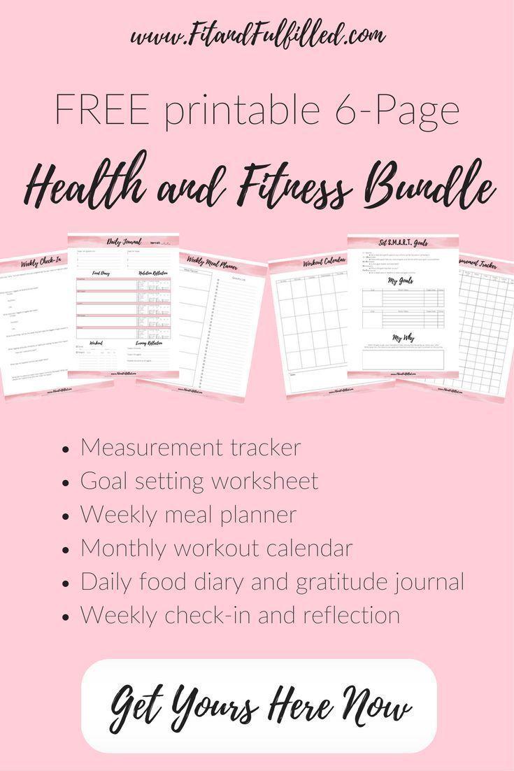 Free Printable Health And Fitness Bundle: Measurement Tracker, Goal