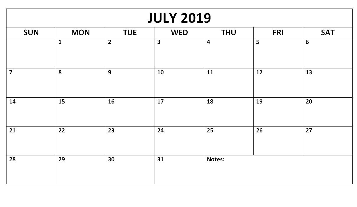 Free Printable July 2019