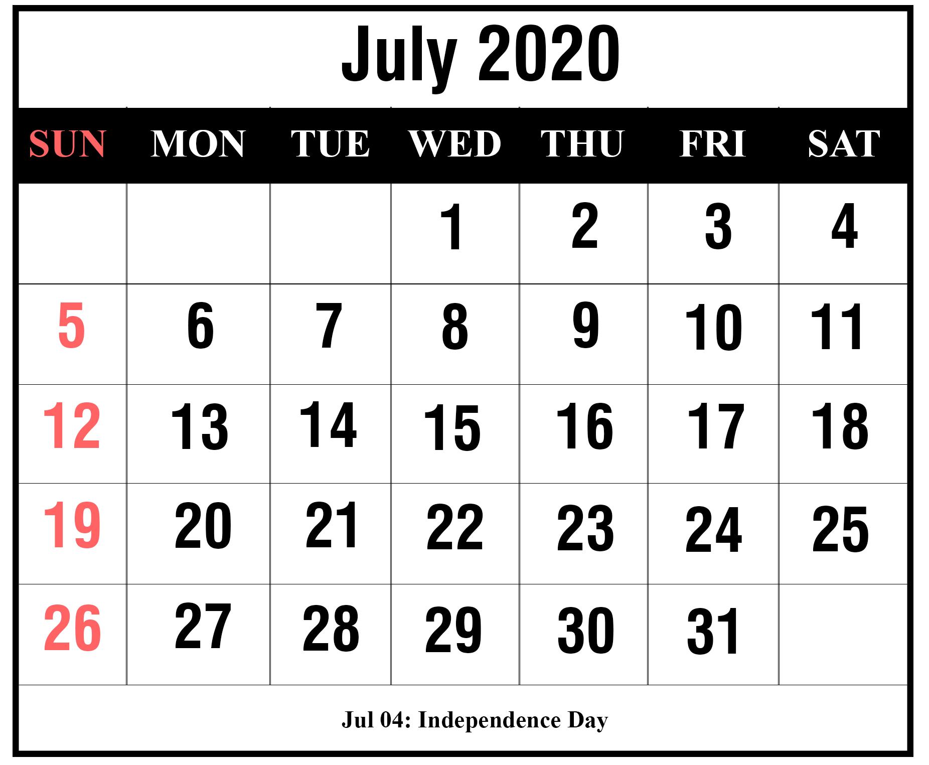 [%Free Printable July 2020 Calendar Templates [Pdf,word,excel|July 2020 Calendar With Holidays|July 2020 Calendar With Holidays%]