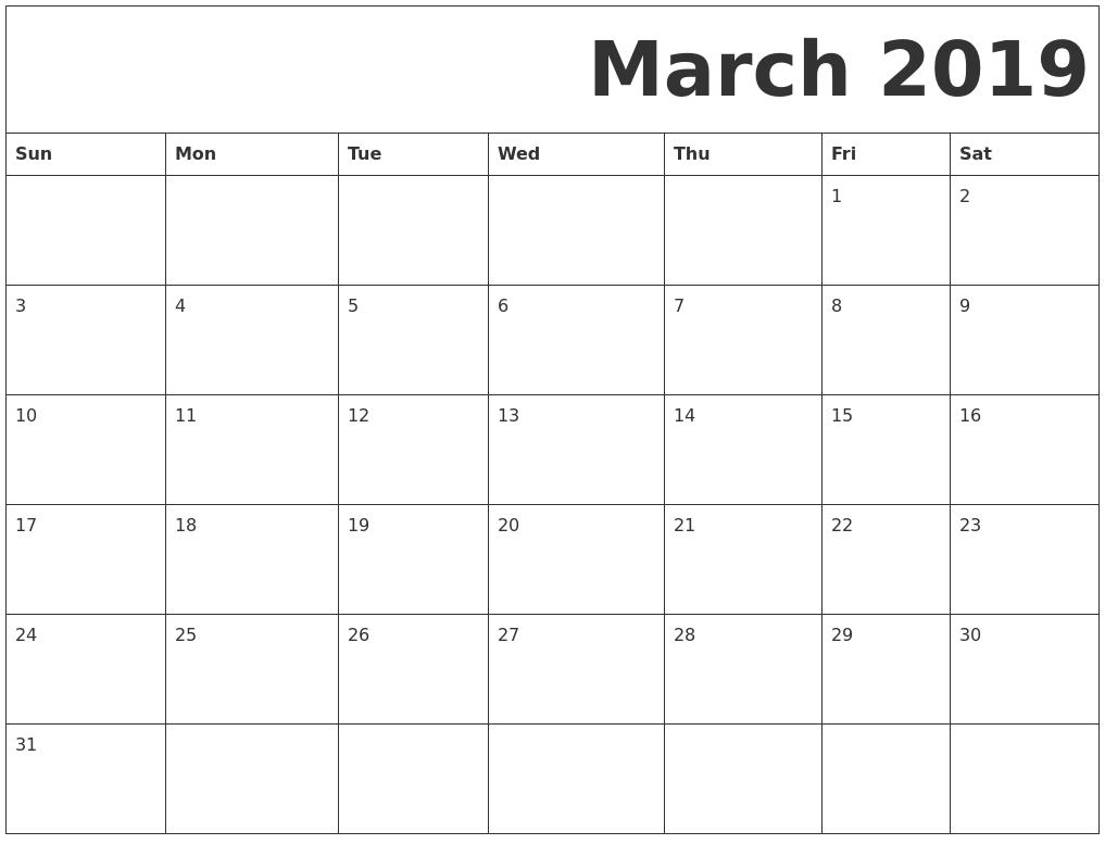Free Printable March Calendar
