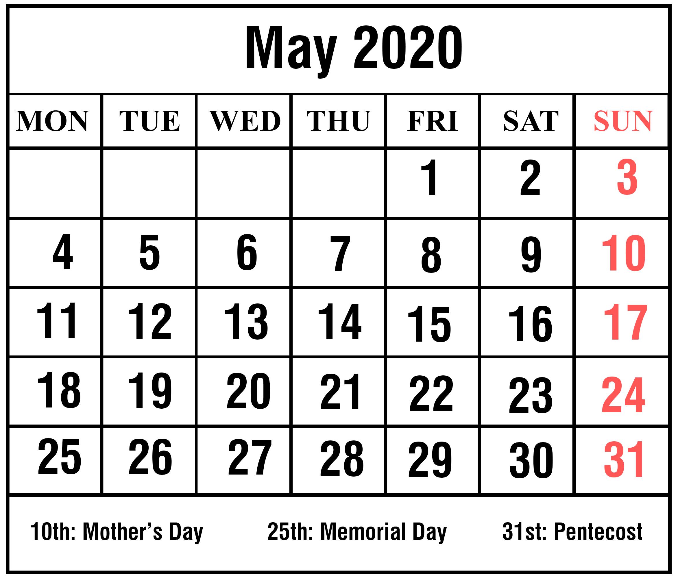 [%Free Printable May 2020 Calendar Templates [Pdf,word,excel|2020 Calendar Template Excel|2020 Calendar Template Excel%]