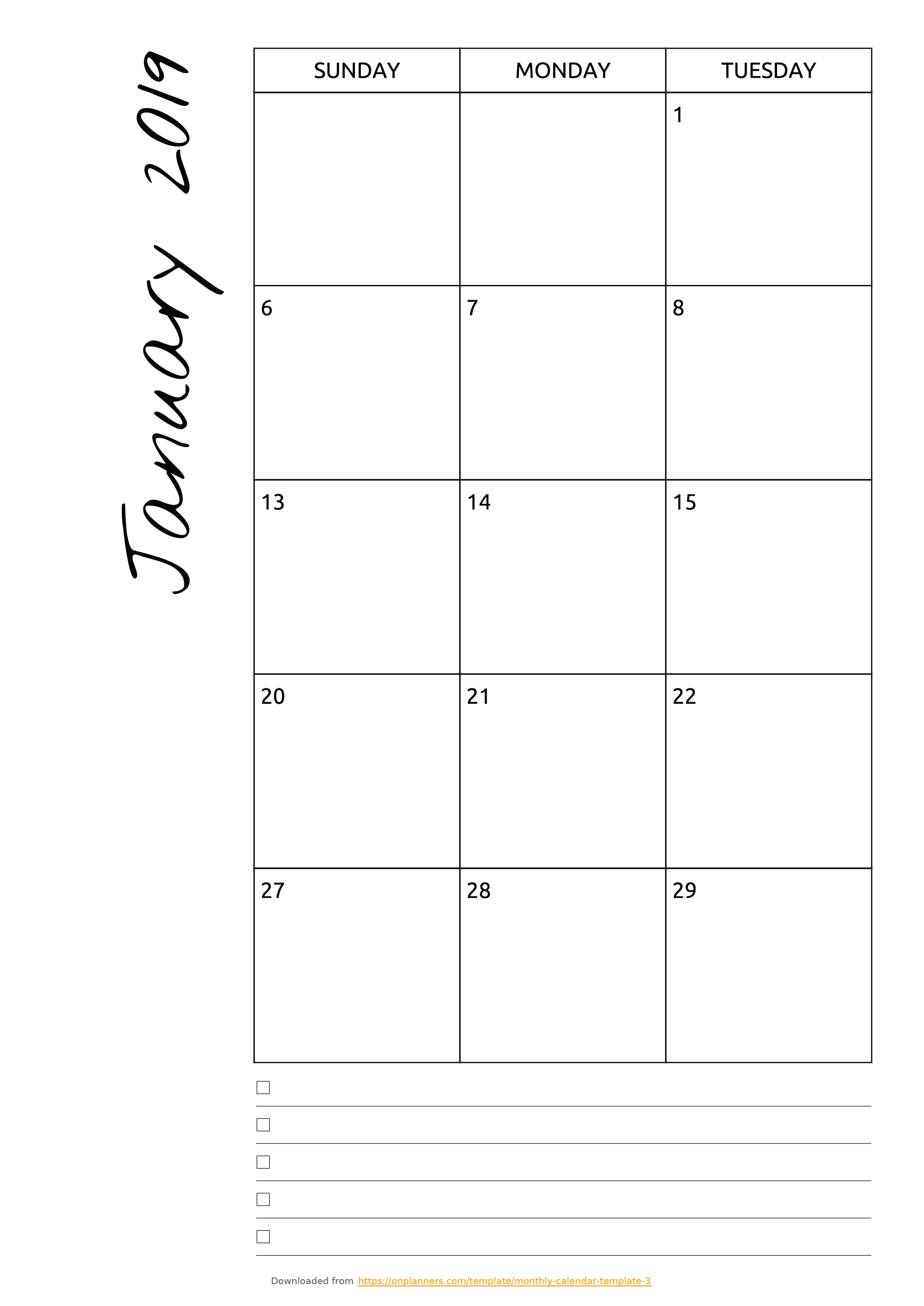 Free Printable Monthly Calendar With Notes Pdf Download