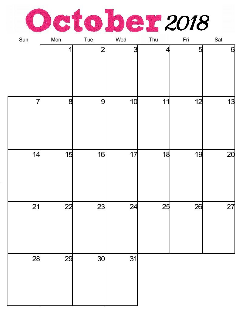 Free Printable October 2018 Vertical Calendar