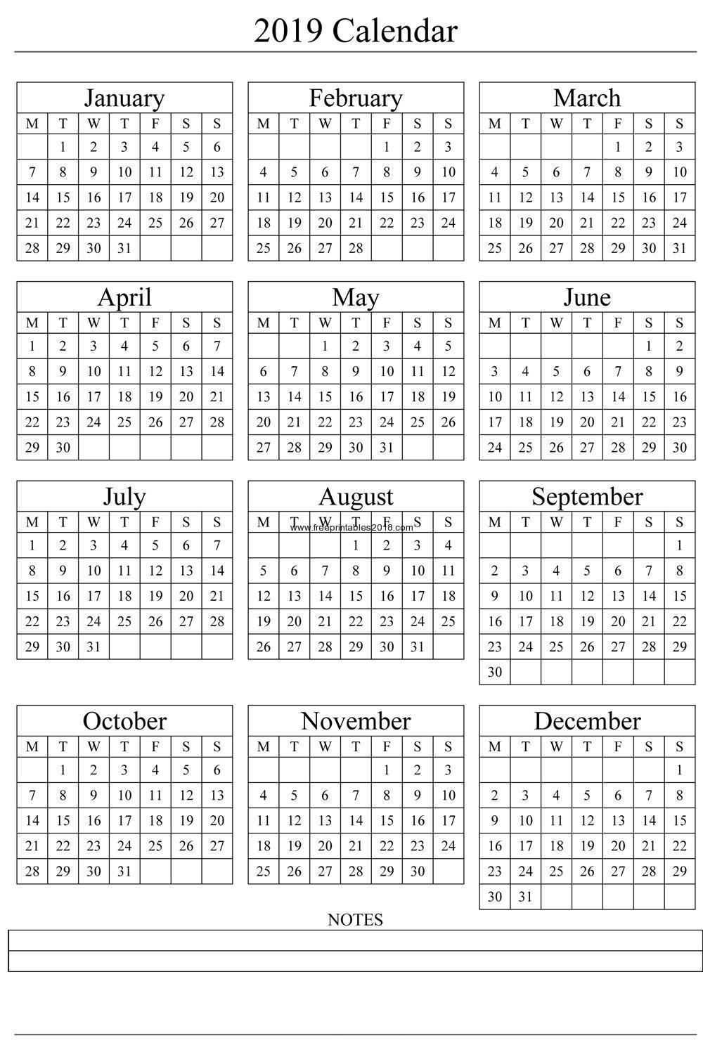 Free Printable Quarterly Calendar 2019 Calendar 2019