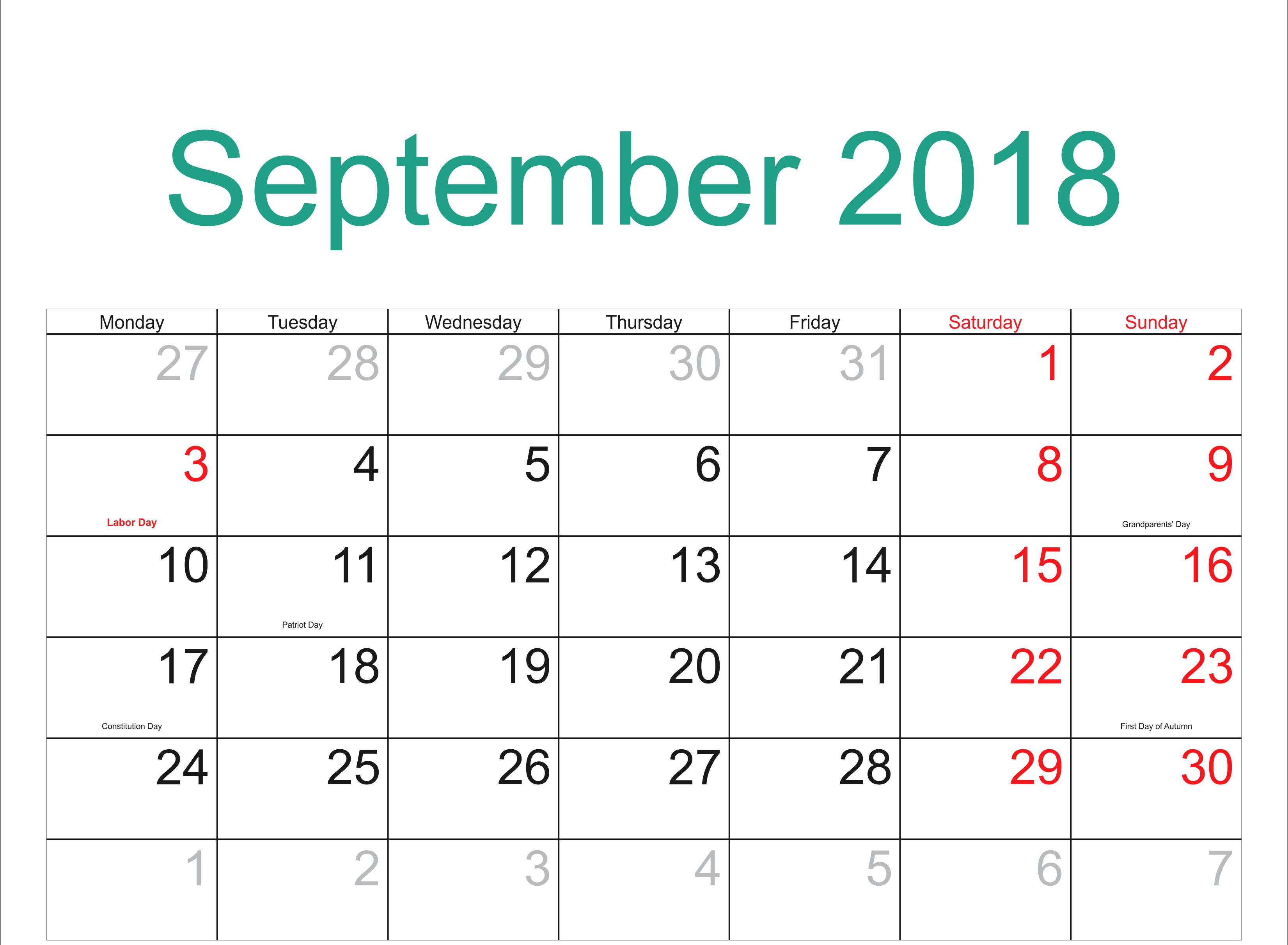 Free Printable September 2018
