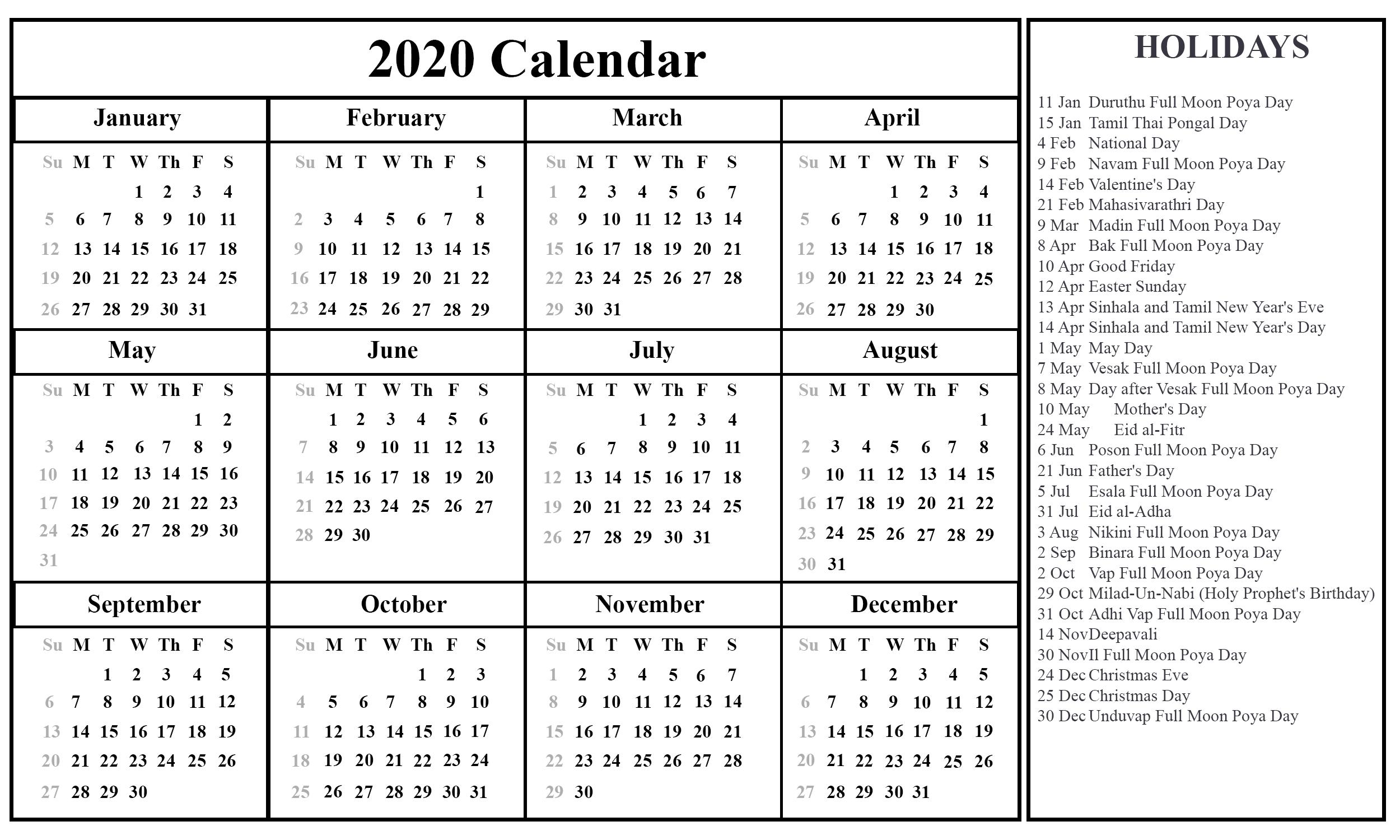 Free Printable Sri Lanka Calendar 2020 With Holidays In Pdf