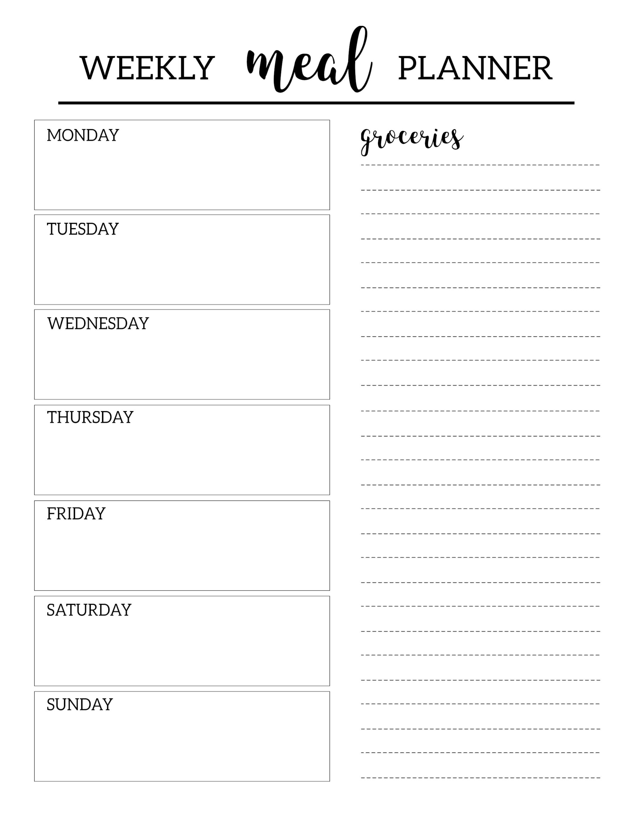 Free Printable Weekly Planner Template