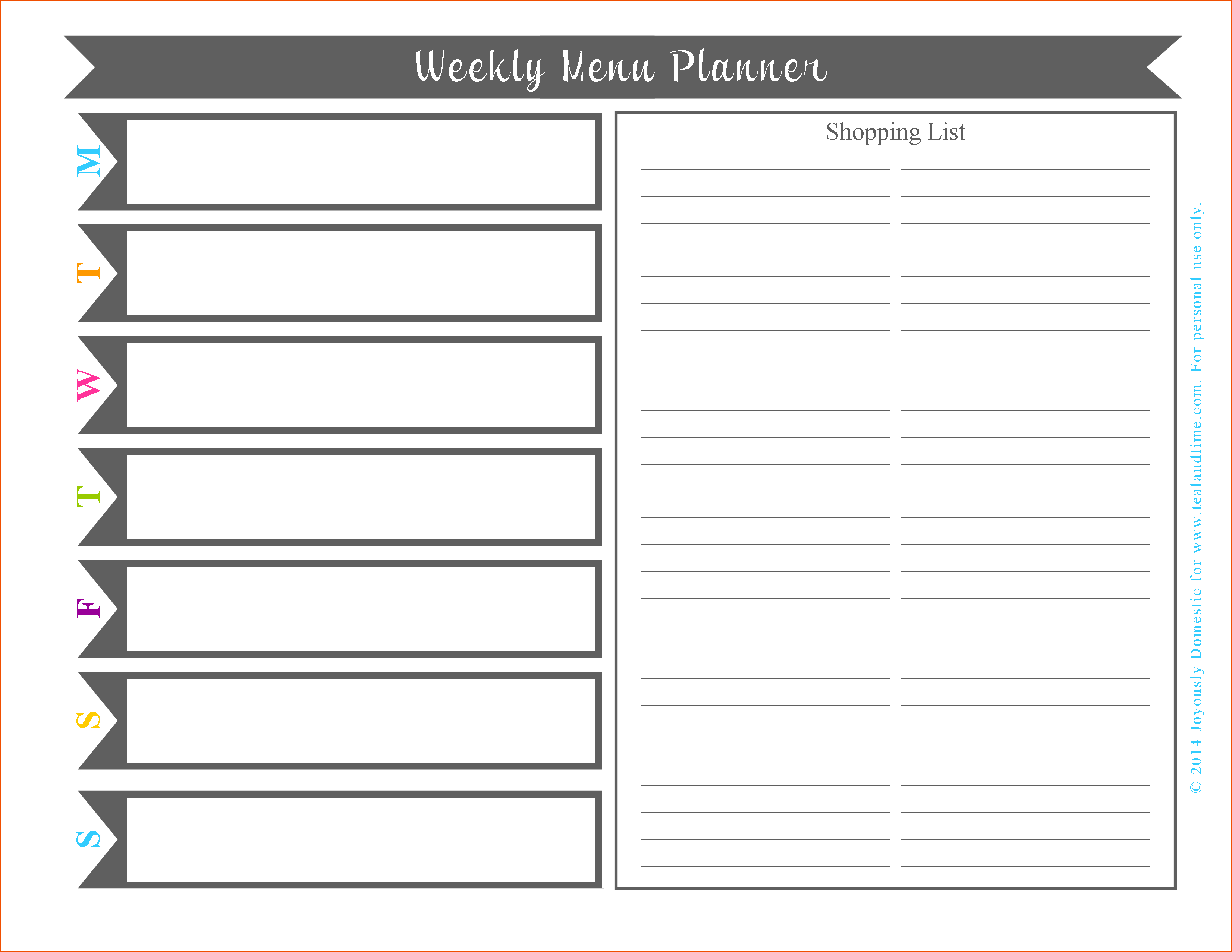 Free Printable Weekly Planner Template