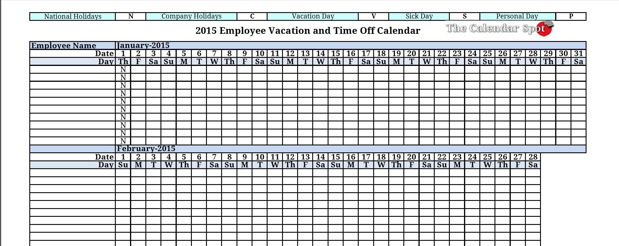 Free Vacation Calendar - Agadi.ifreezer.co