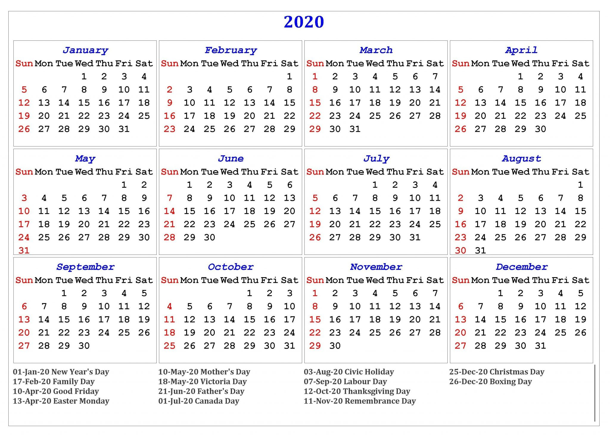 Free Yearly Printable Calendar 2020 With Holidays