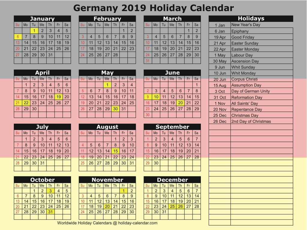 Germany 2019 / 2020 Holiday Calendar