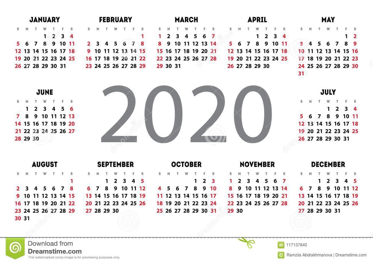 Griglia Di Base Della Tasca Di Vettore Del Calendario 2020 Modello