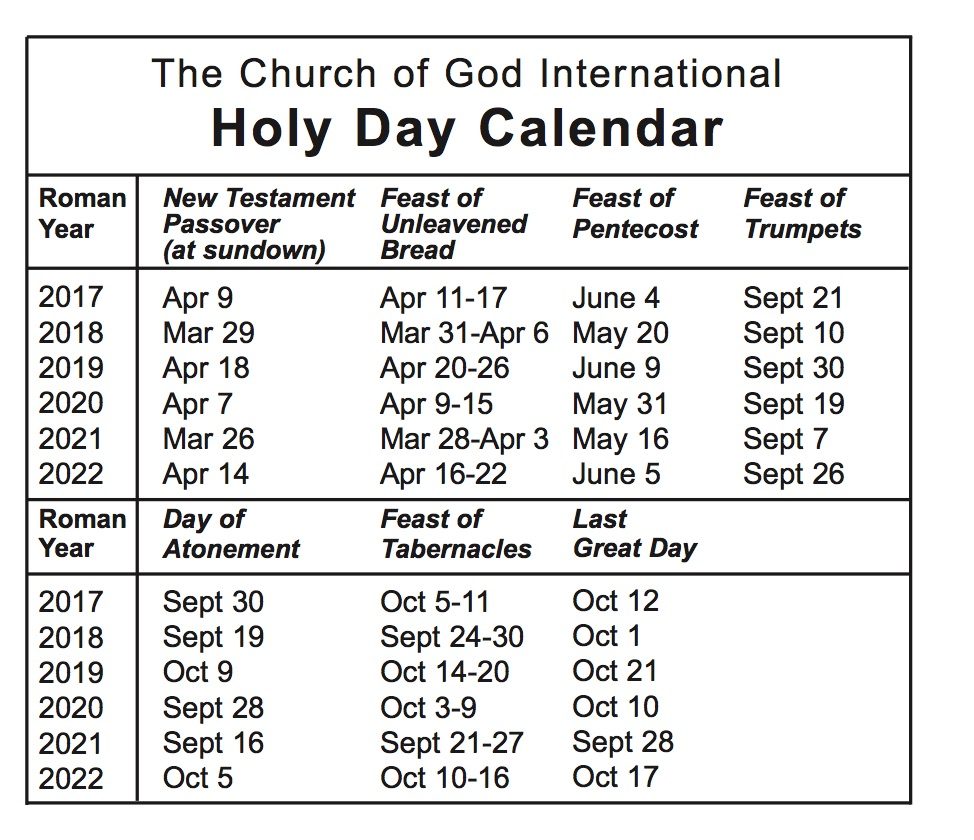 Holy Day Calendar — The Church Of God International