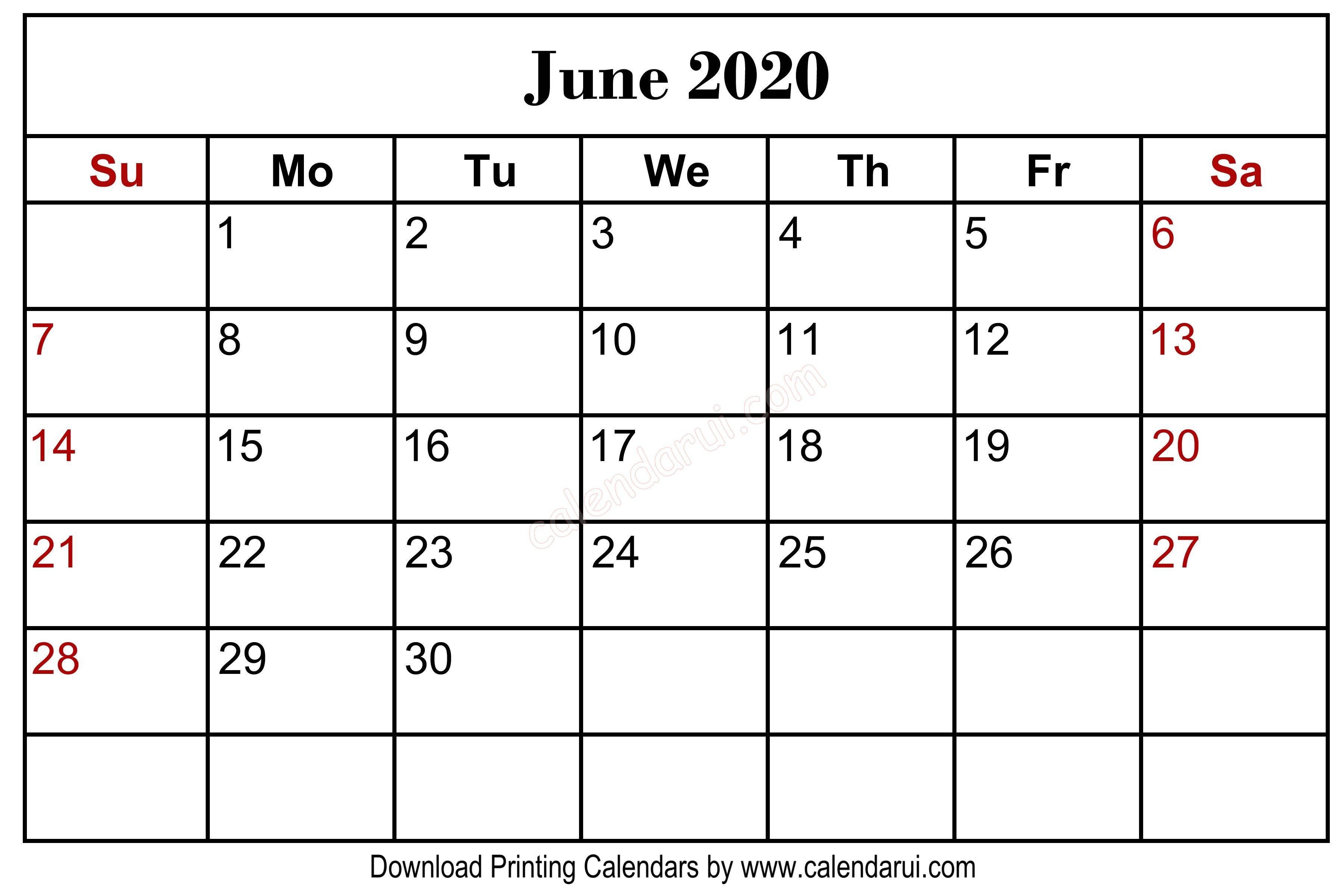 Homepage / 2020 Calendar / June 2020 Blank Calendar Printable